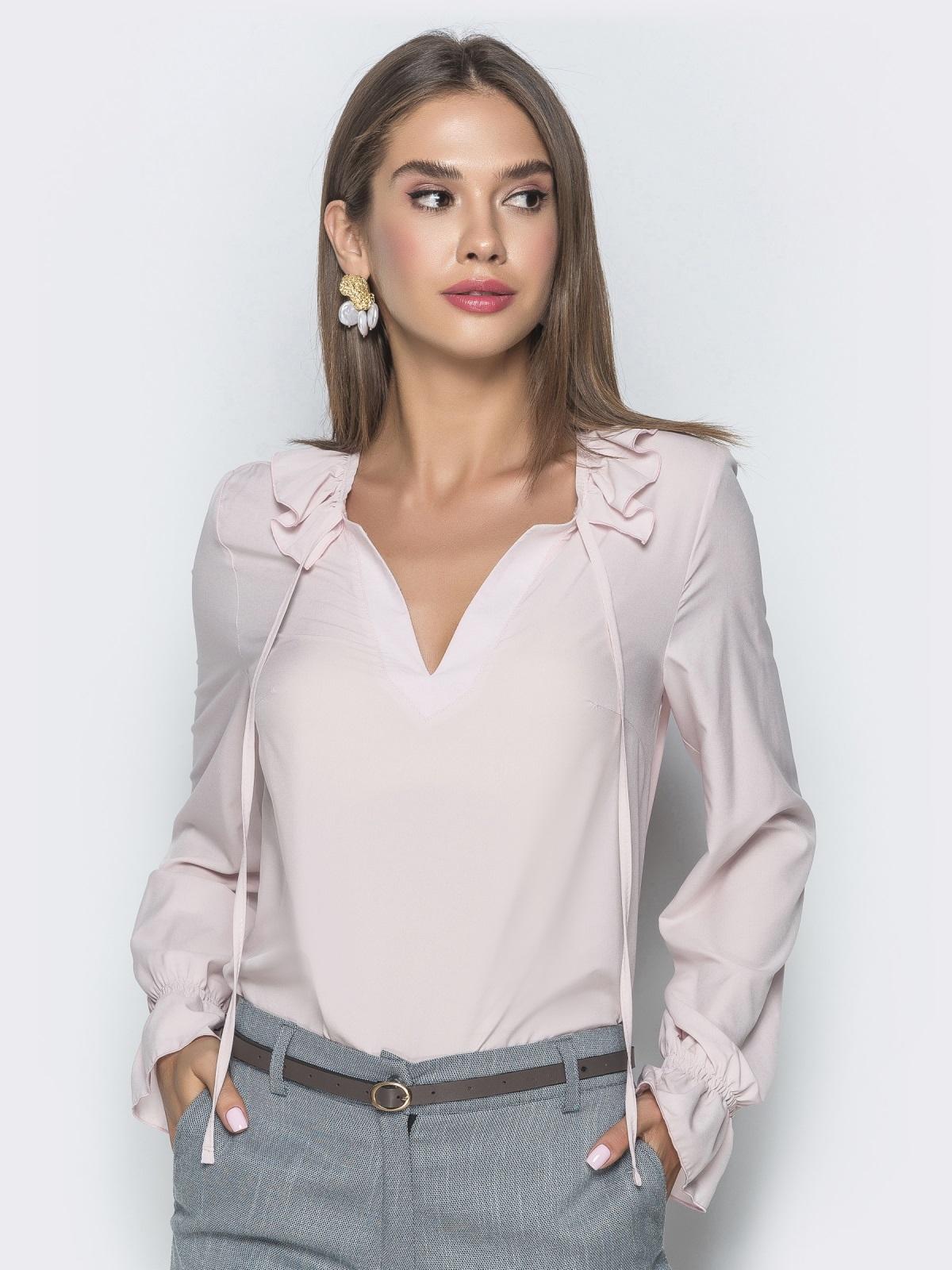Блузка бледно розового цвета с манжетами на резинке - 40093, фото 1 – интернет-магазин Dressa