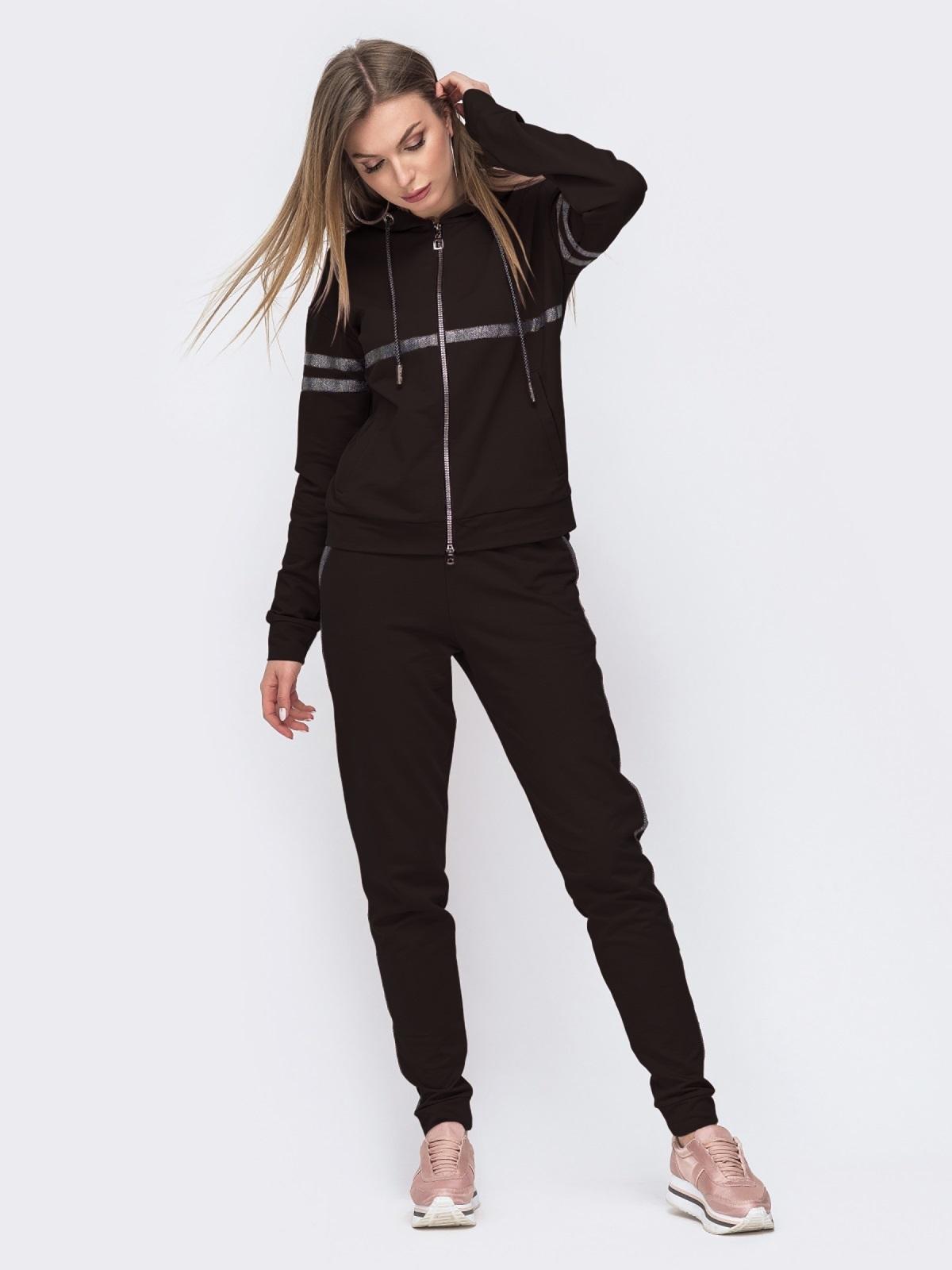 Чёрный комплект из кофты с капюшоном и брюк 49305, фото 1