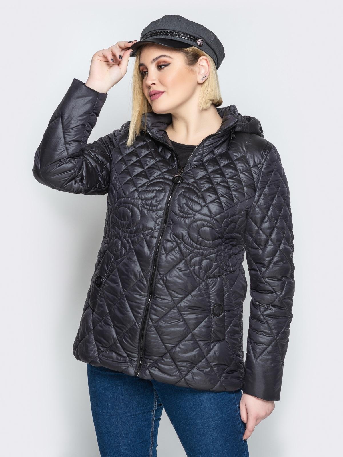 Стеганая куртка с капюшоном и карманами на магнитах чёрная 20322, фото 1