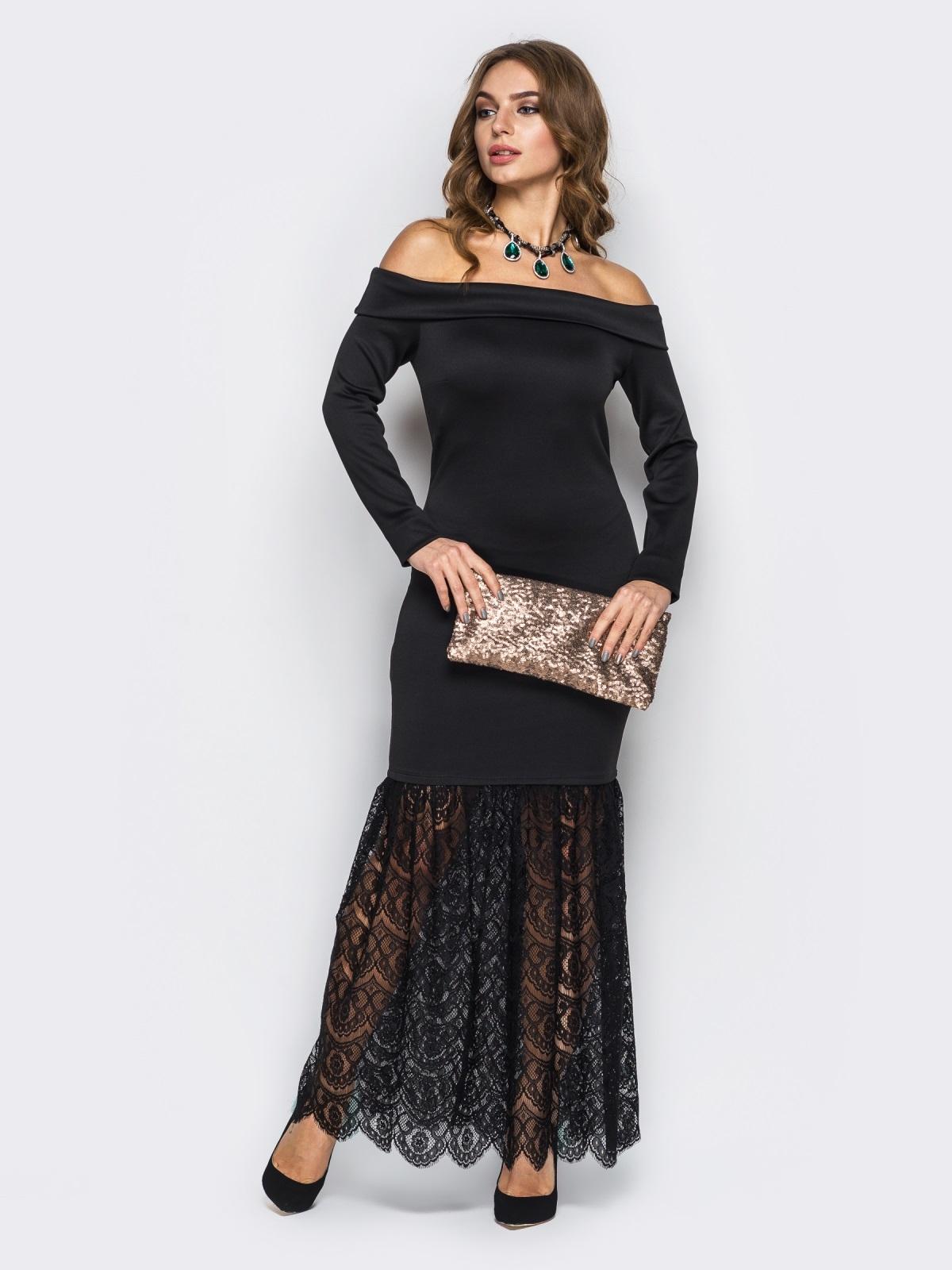 Чёрное платье-годе с открытыми плечами - 22149, фото 1 – интернет-магазин Dressa