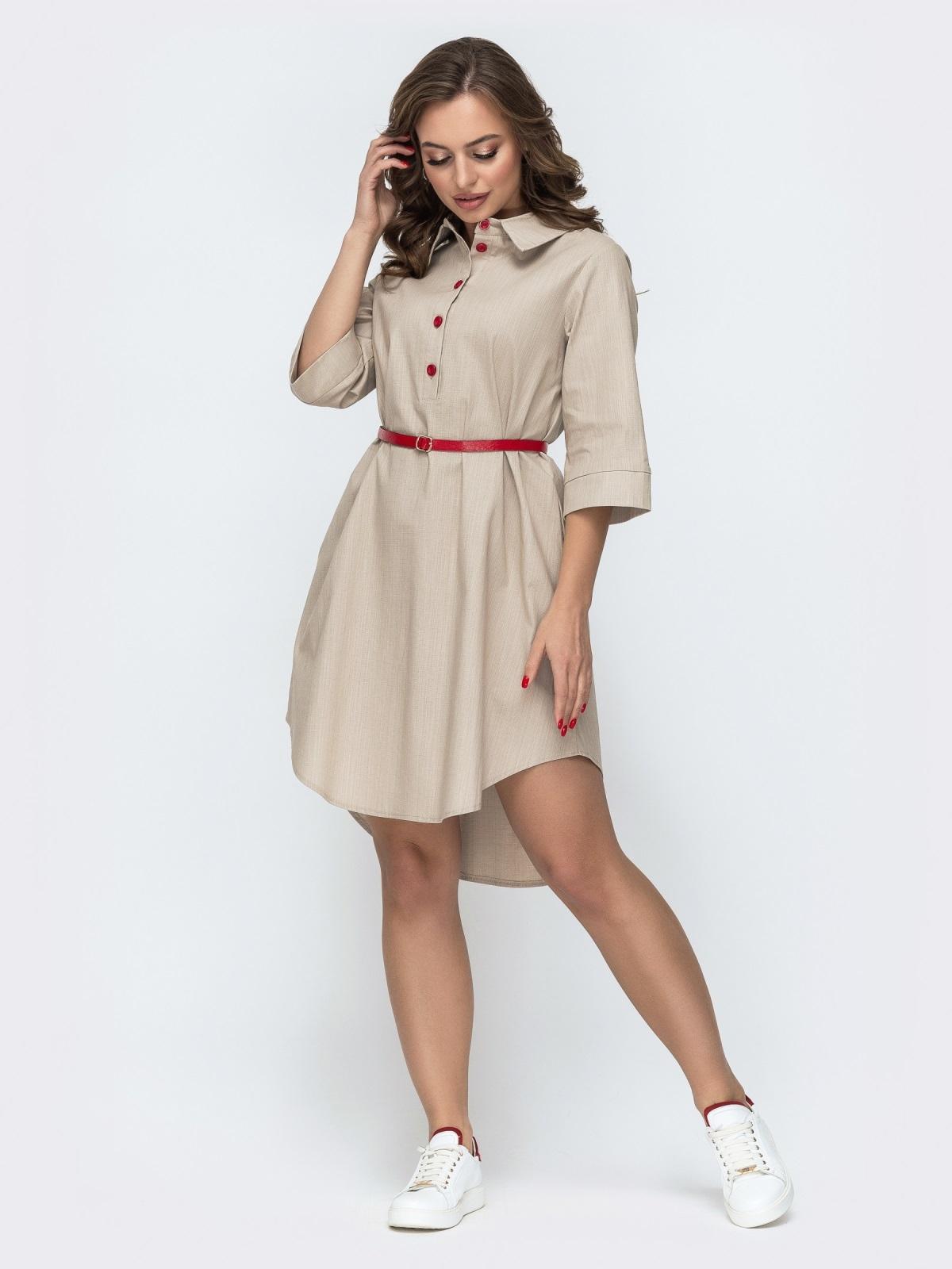 Платье-рубашка с удлиненной спинкой и поясом бежевое 46722, фото 1
