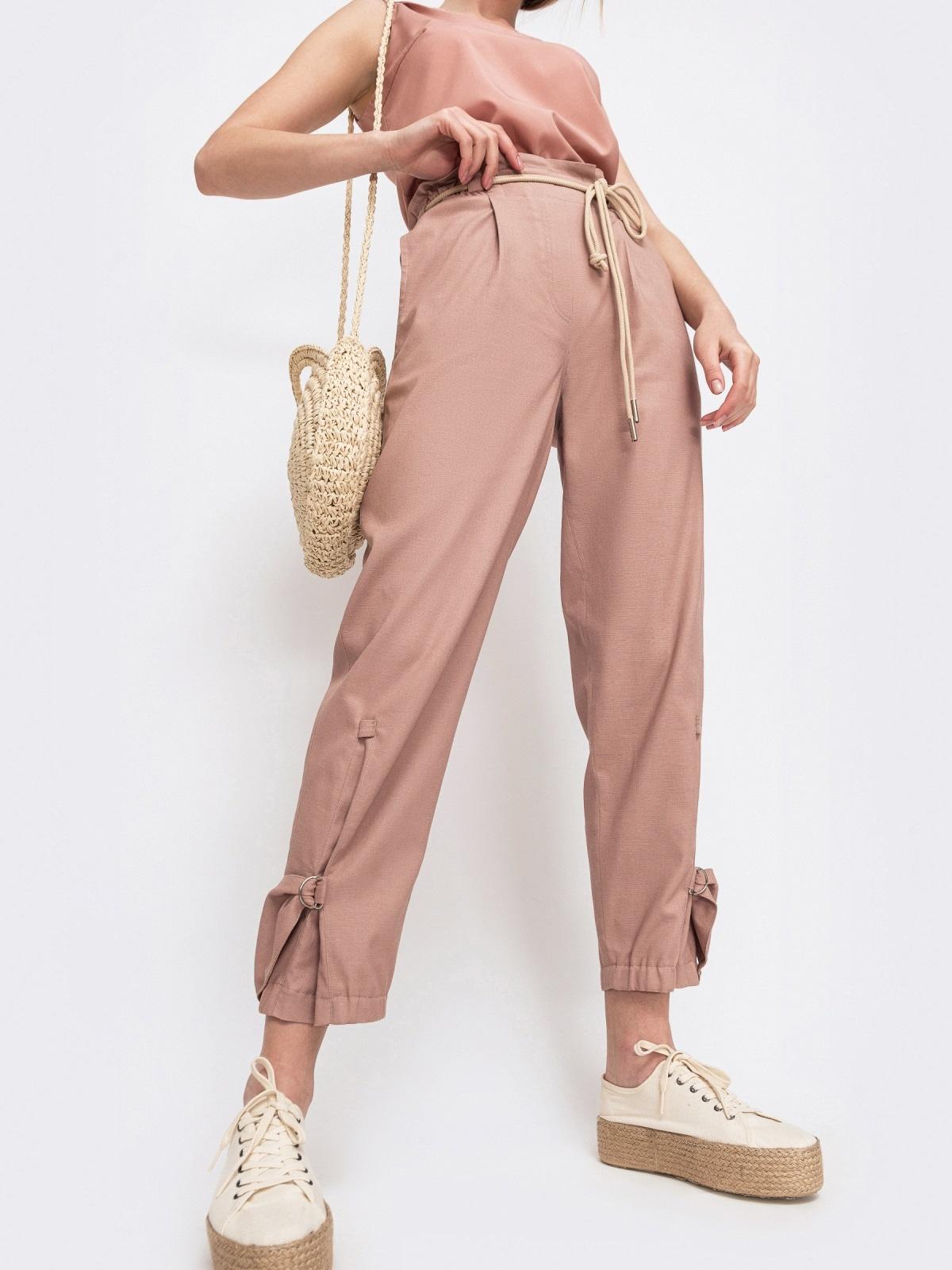 Укороченные брюки с завышенной талией розовые - 47745, фото 1 – интернет-магазин Dressa
