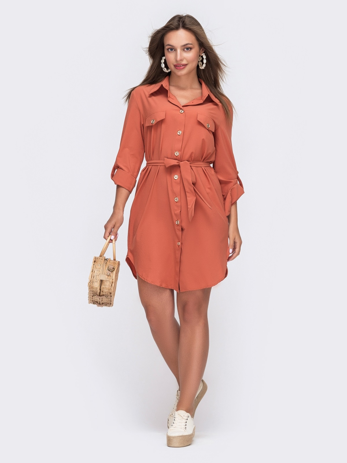 Коралловое платье-рубашка с клапанами на полочке 49539, фото 1