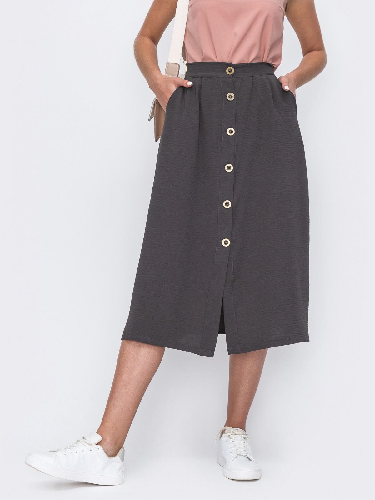 Расклешенная юбка-миди на пуговицах серая 49426, фото 1