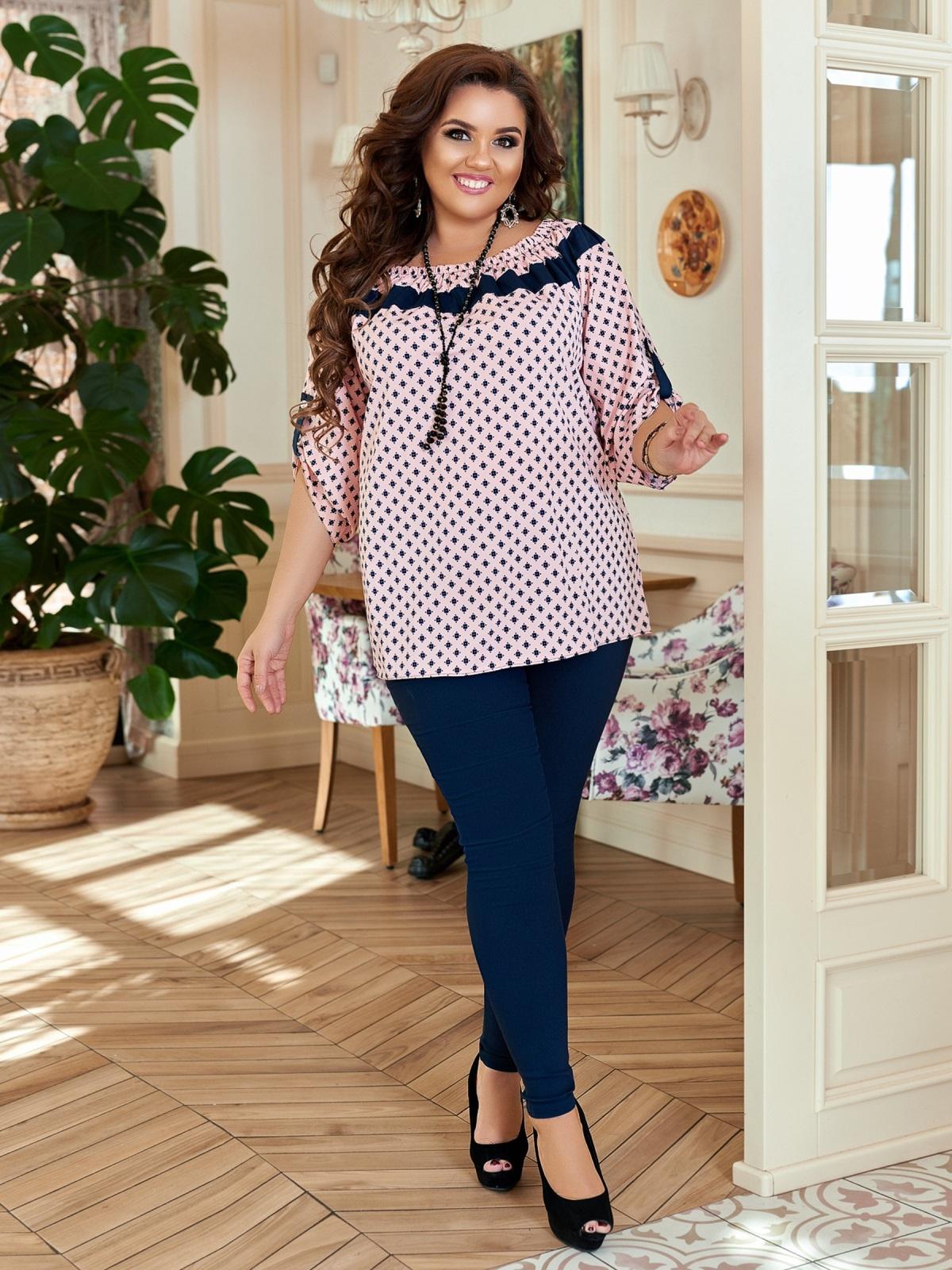 Комплект большого размера с принтованной блузкой розовый 47119, фото 1