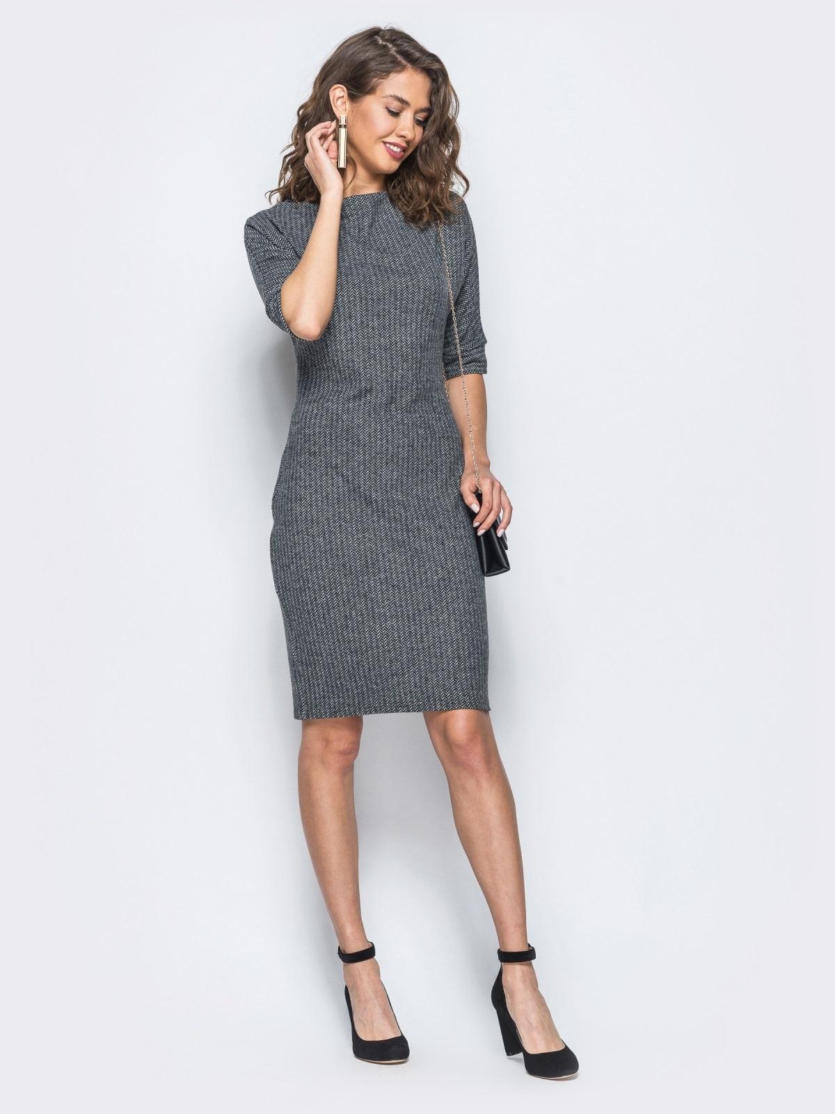 """Платье серого цвета в принт """"мелкую ёлочку"""" - 17957, фото 1 – интернет-магазин Dressa"""