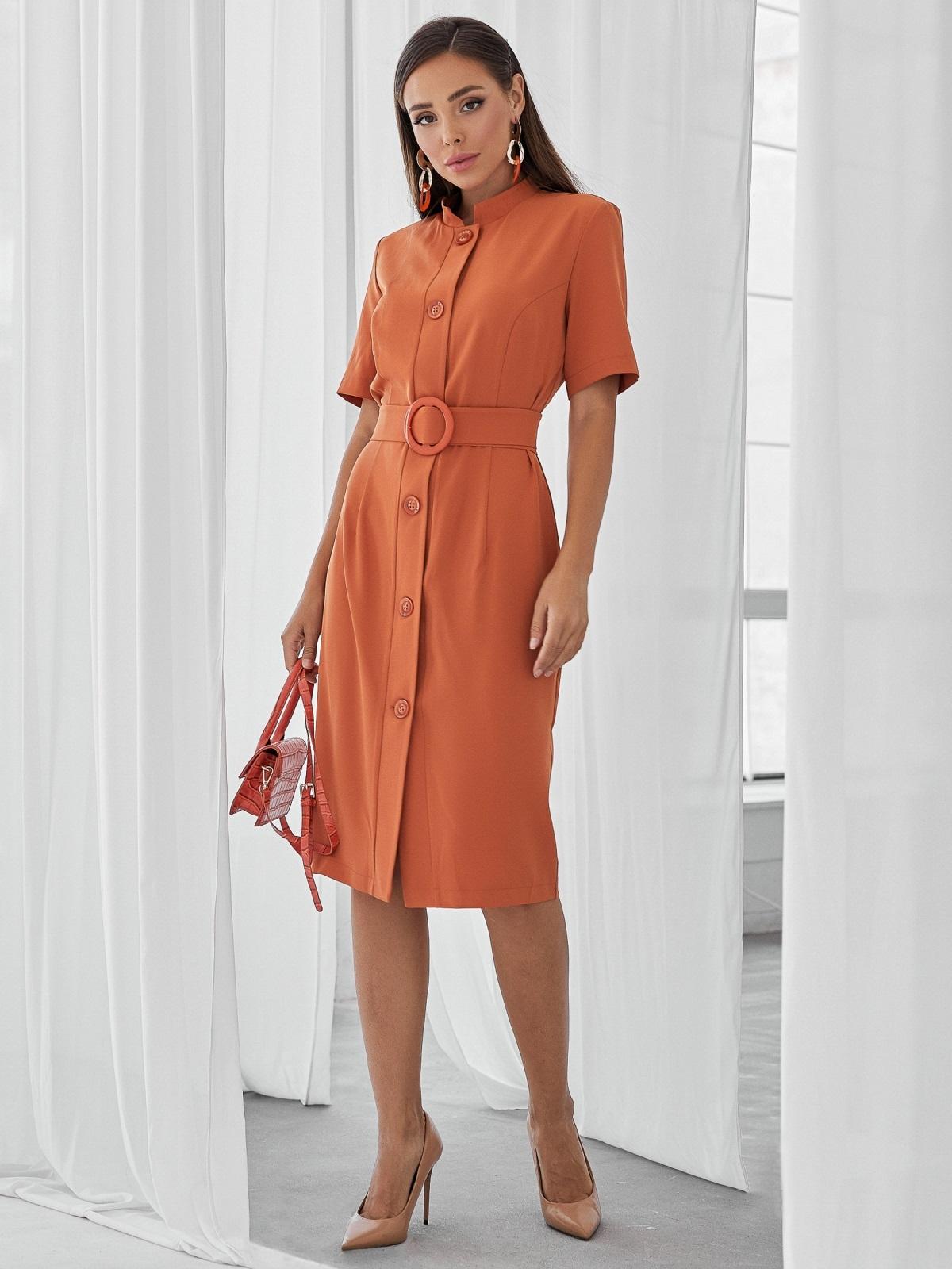 Терракотовое платье-рубашка приталенного кроя с воротником-стойкой 50143, фото 1