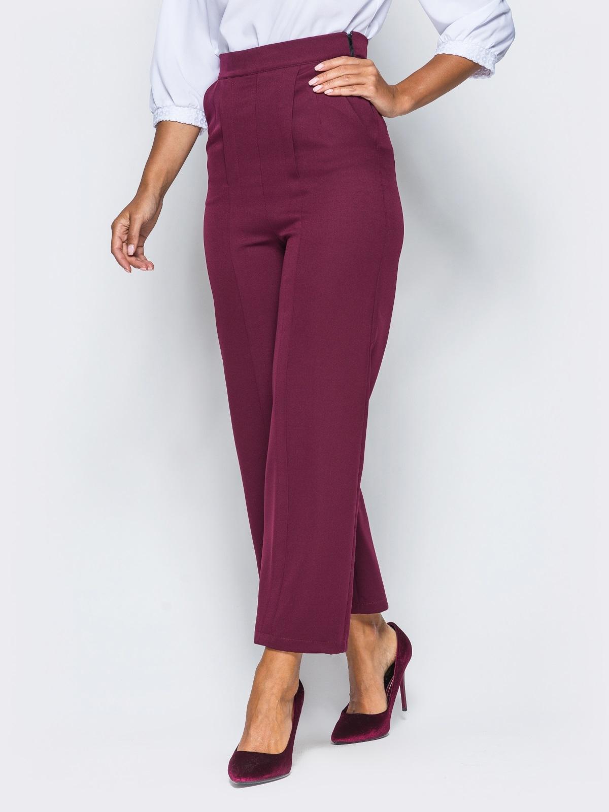 Бордовые брюки-кюлоты с высокой посадкой - 16595, фото 1 – интернет-магазин 0707df07064