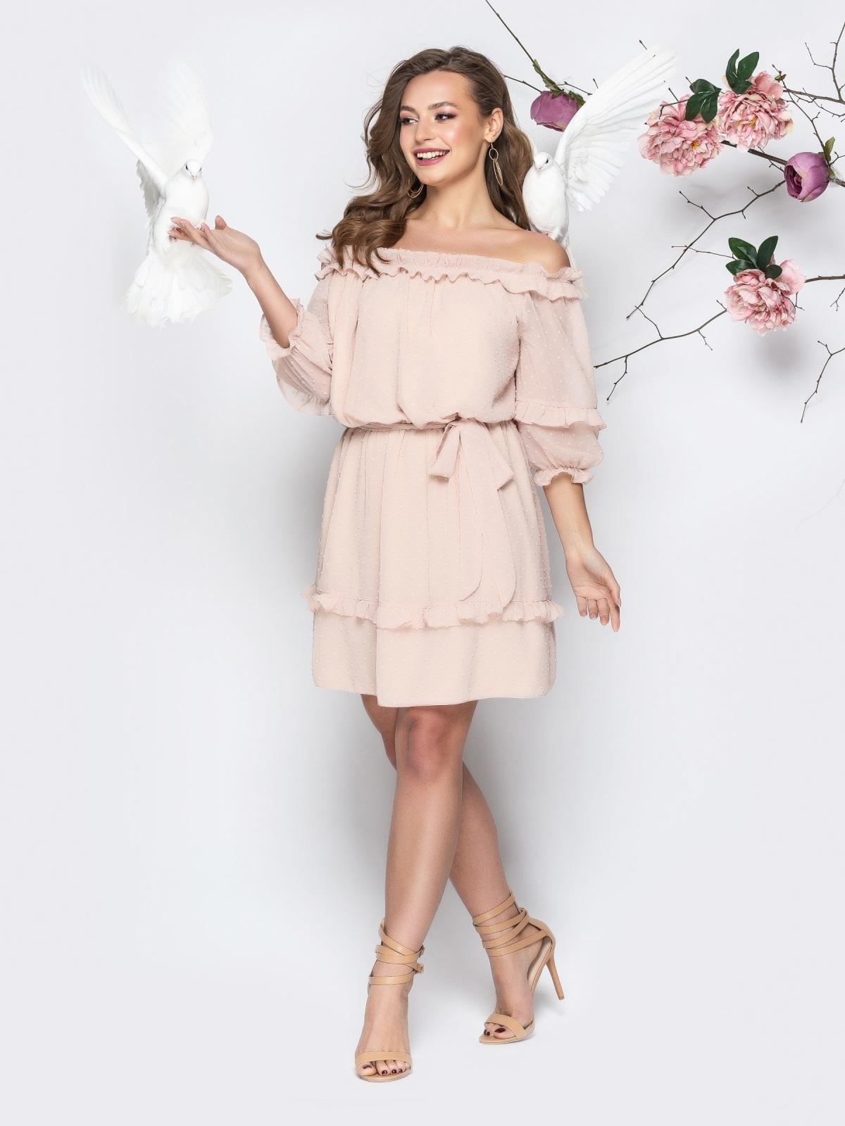 """Платье с вырезом """"анжелика"""" и объемным рукавом пудровое - 21102, фото 1 – интернет-магазин Dressa"""