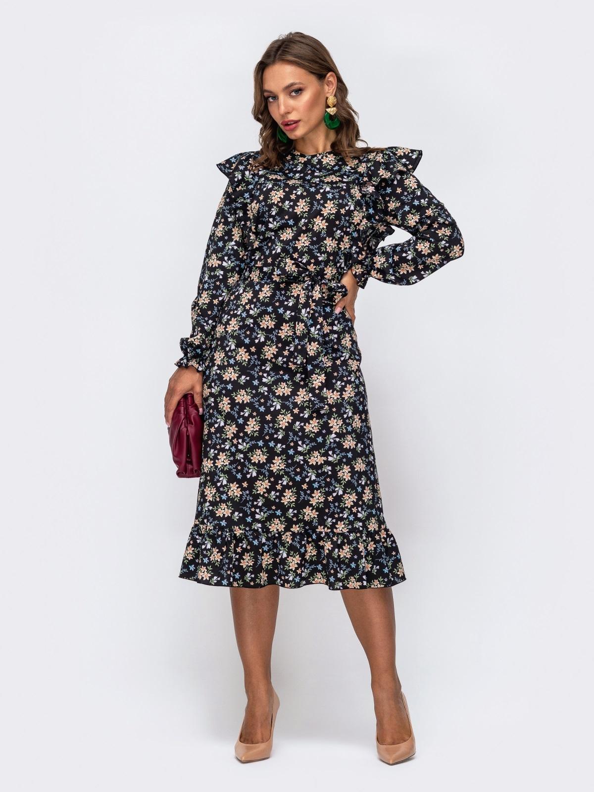 Черное платье в цветочный принт с оборками и воланом 50469, фото 1