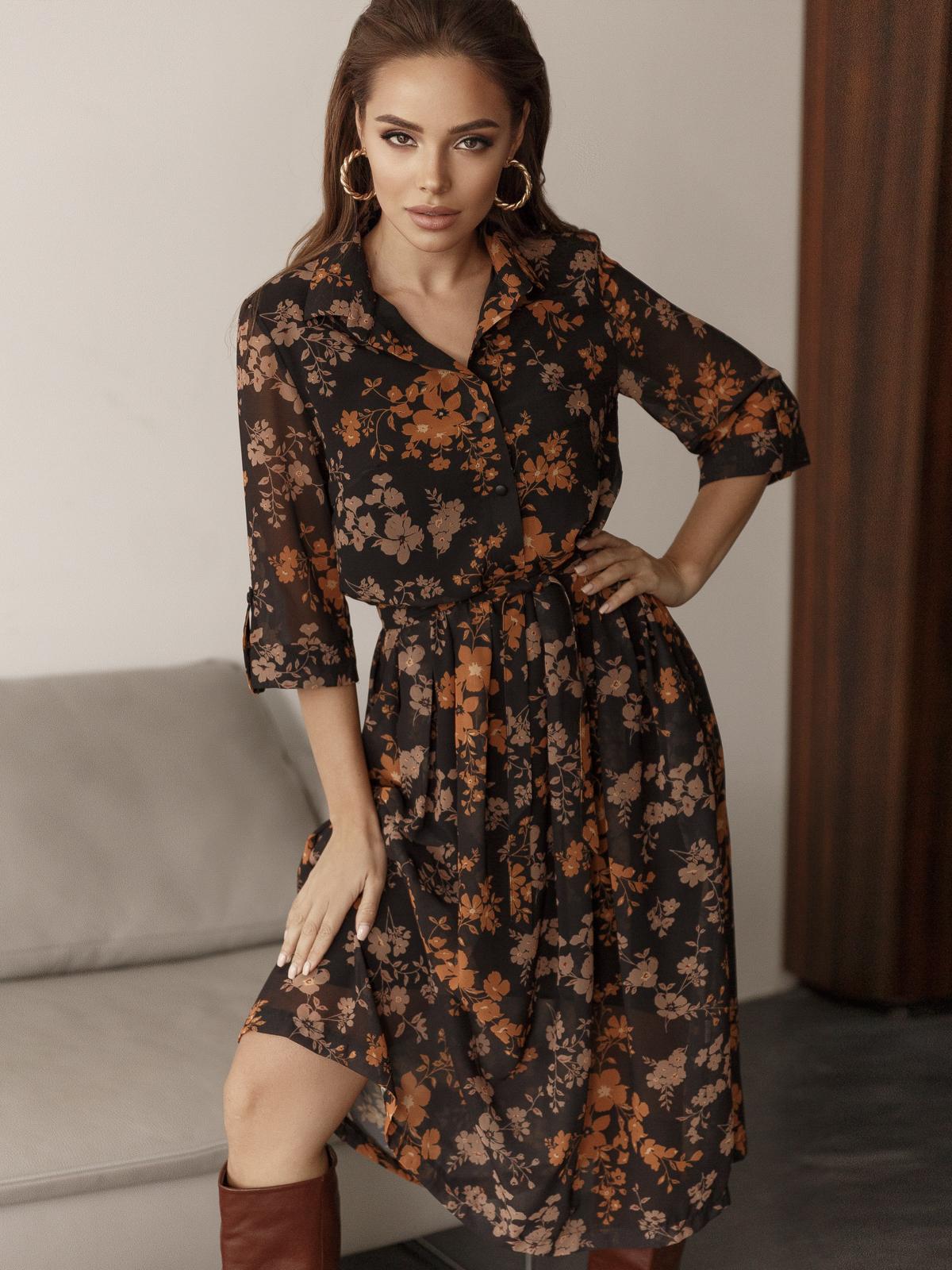 Платье из шифона с цветочным принтом чёрное 45055, фото 1
