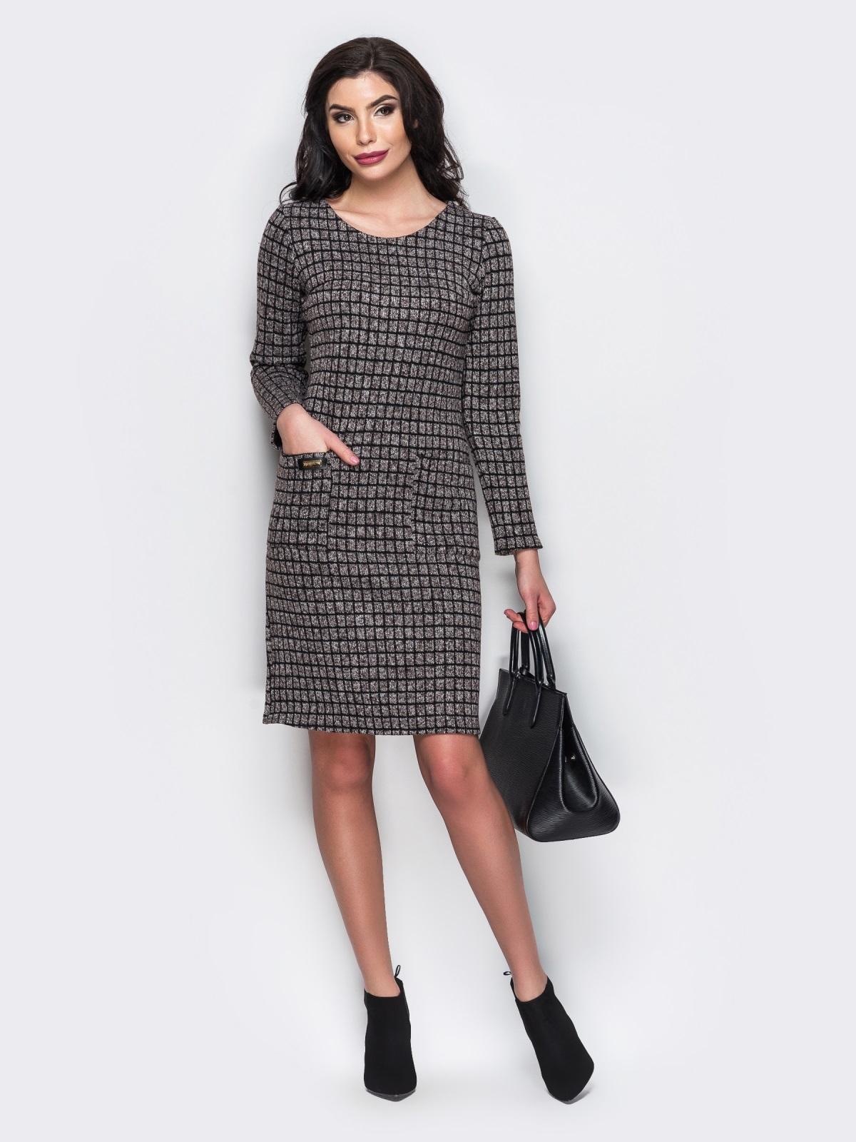 Платье с карманами спереди и вырезом сзади коричневое - 13657, фото 2 – интернет-магазин Dressa