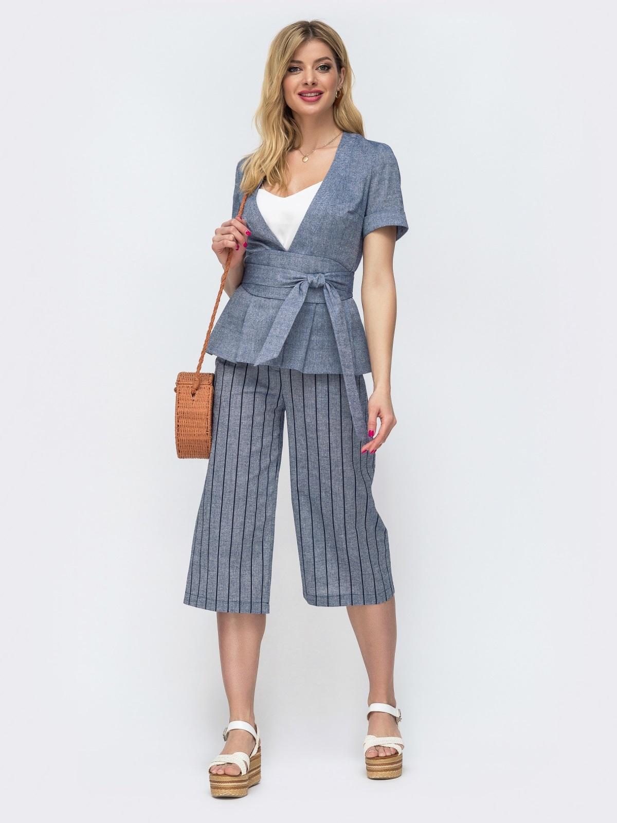 Синий комплект из жакета и брюками-кюлотами в полоску - 46888, фото 1 – интернет-магазин Dressa