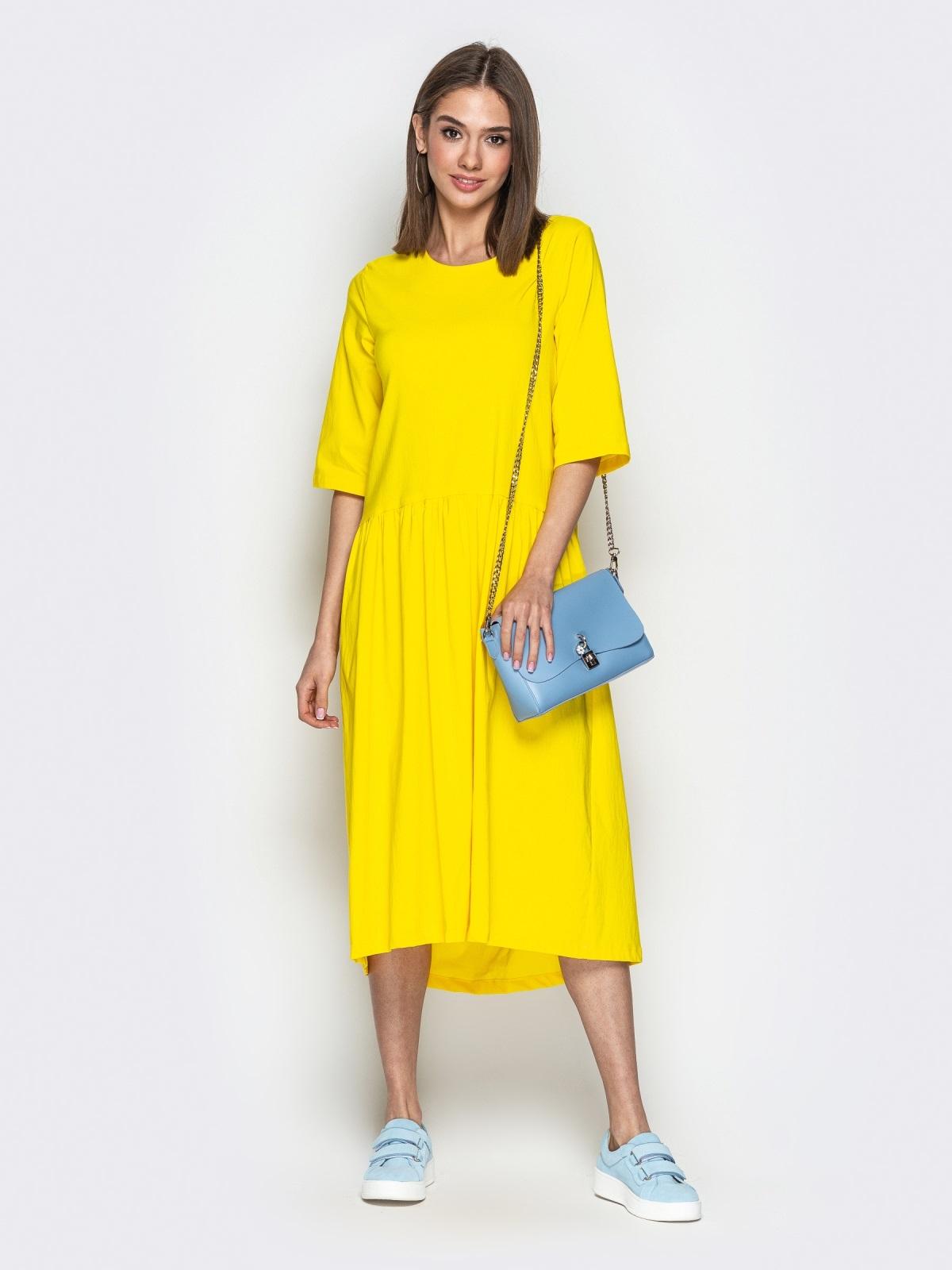 Жёлтое платье oversize со складками на юбке - 20656, фото 1 – интернет-магазин Dressa