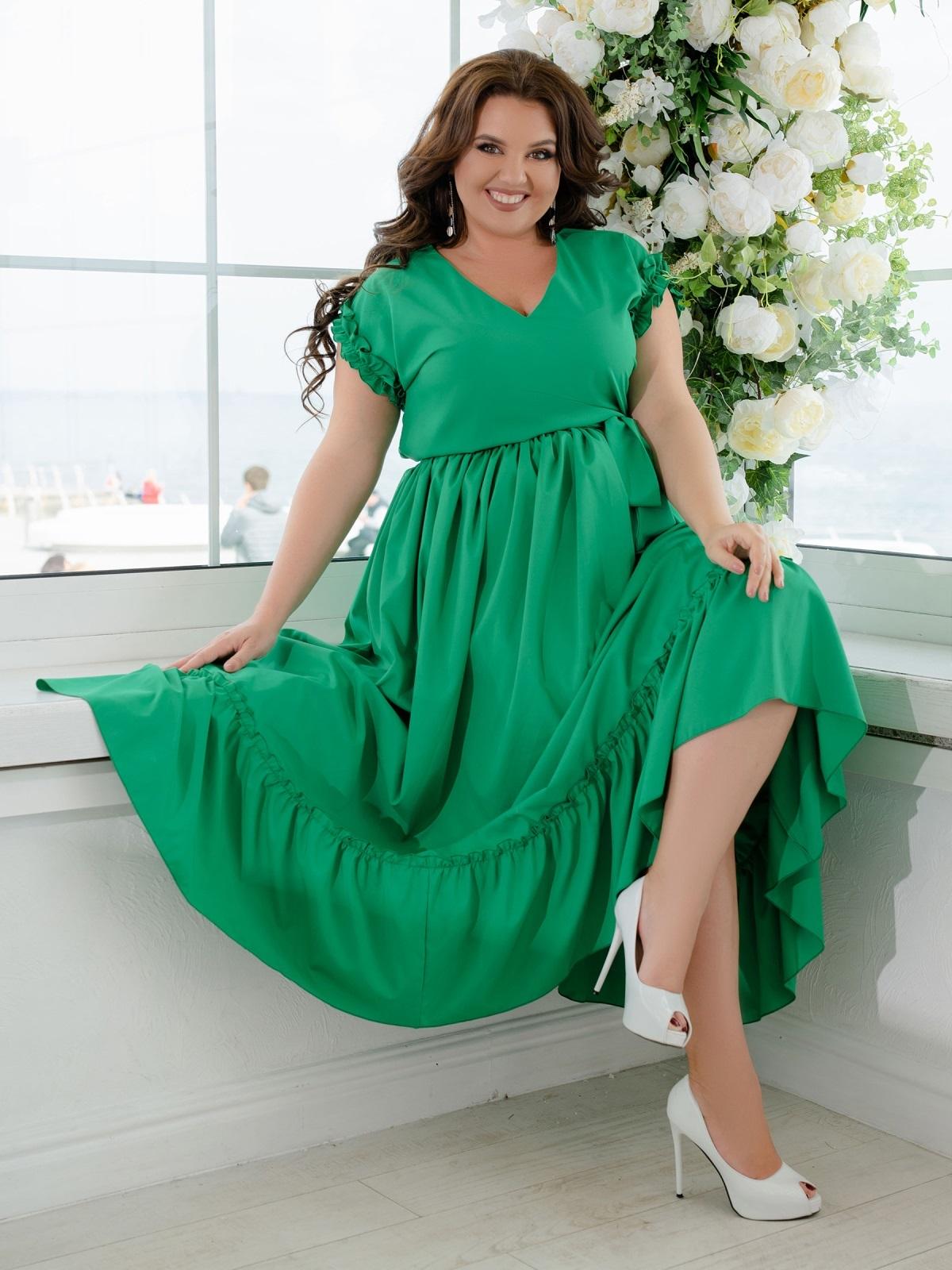 Длинное платье батал с расклешенной юбкой зеленое 47380, фото 1