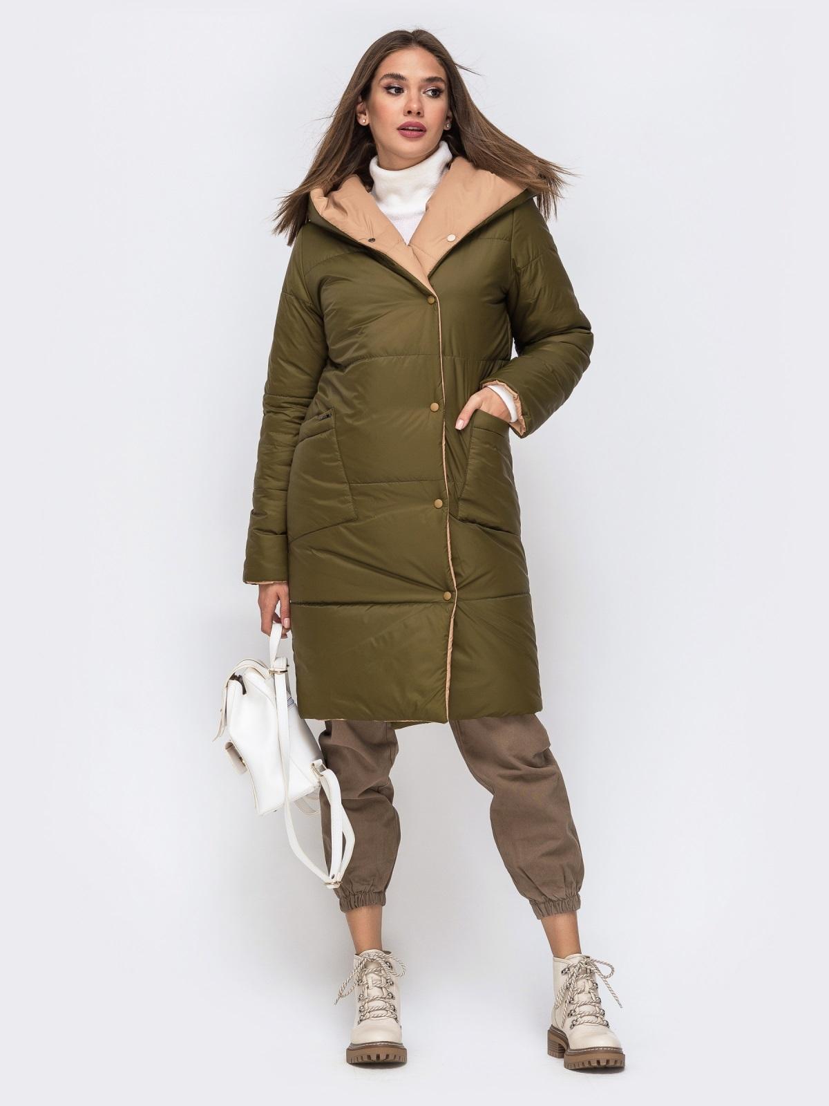 Двухсторонняя куртка с объемным капюшоном бежевая - 41707, фото 1 – интернет-магазин Dressa