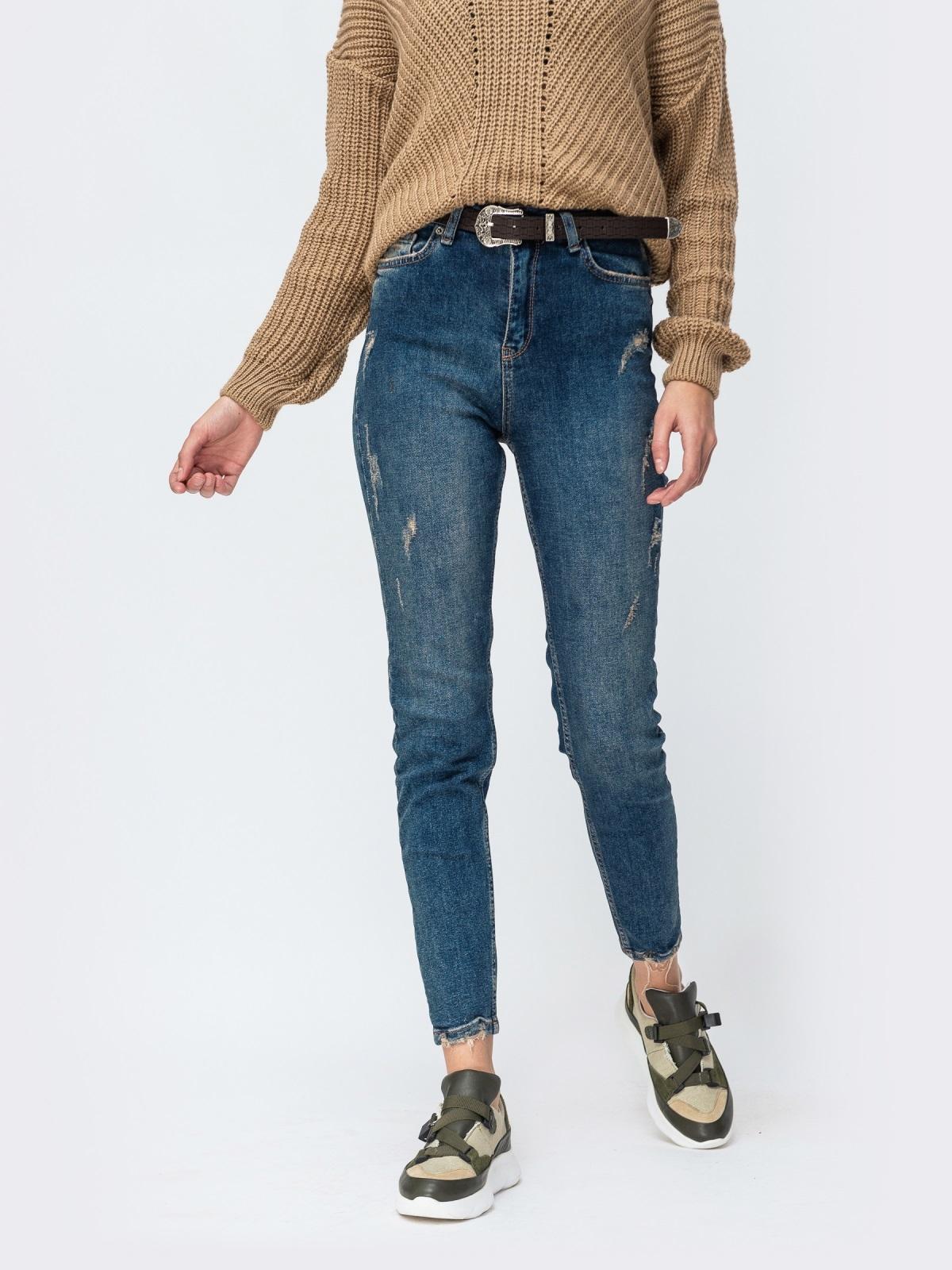 Синие джинсы с завышенной талией и поясом - 43103, фото 1 – интернет-магазин Dressa