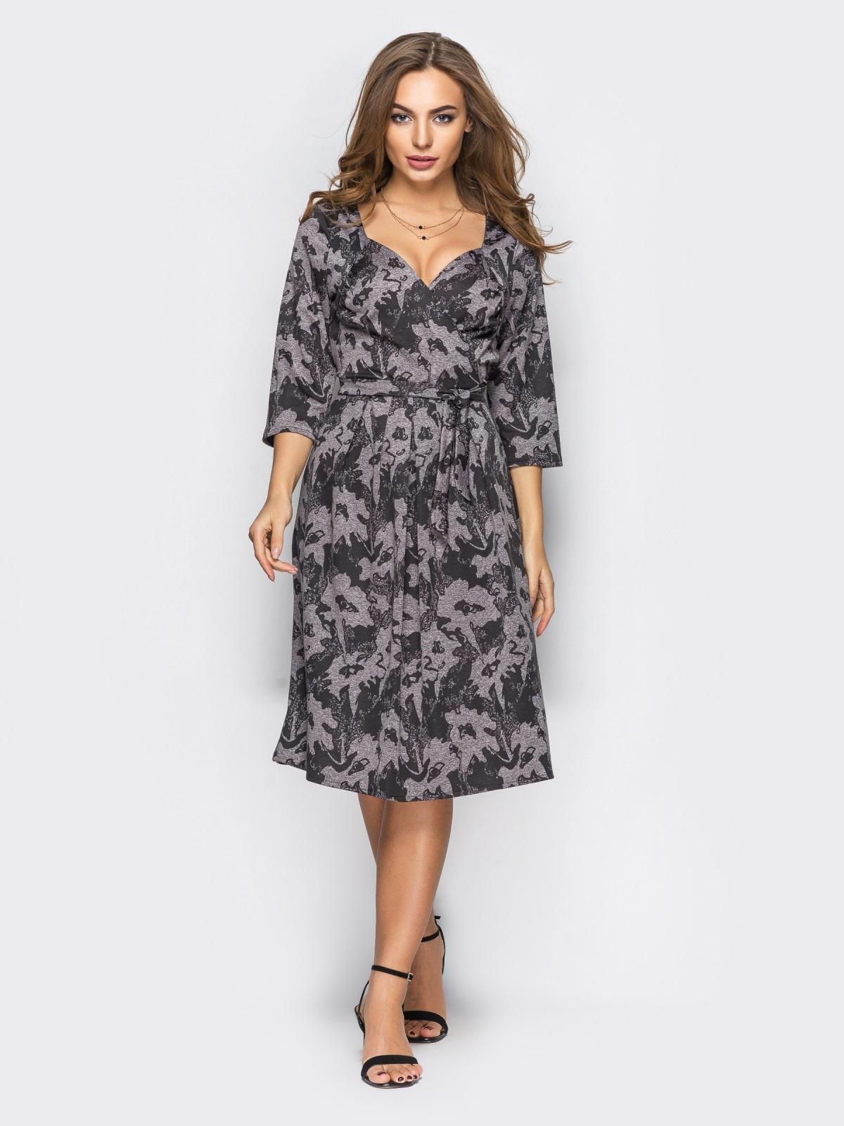 Бежевое платье на запах с рукавом / - 13663, фото 1 – интернет-магазин Dressa
