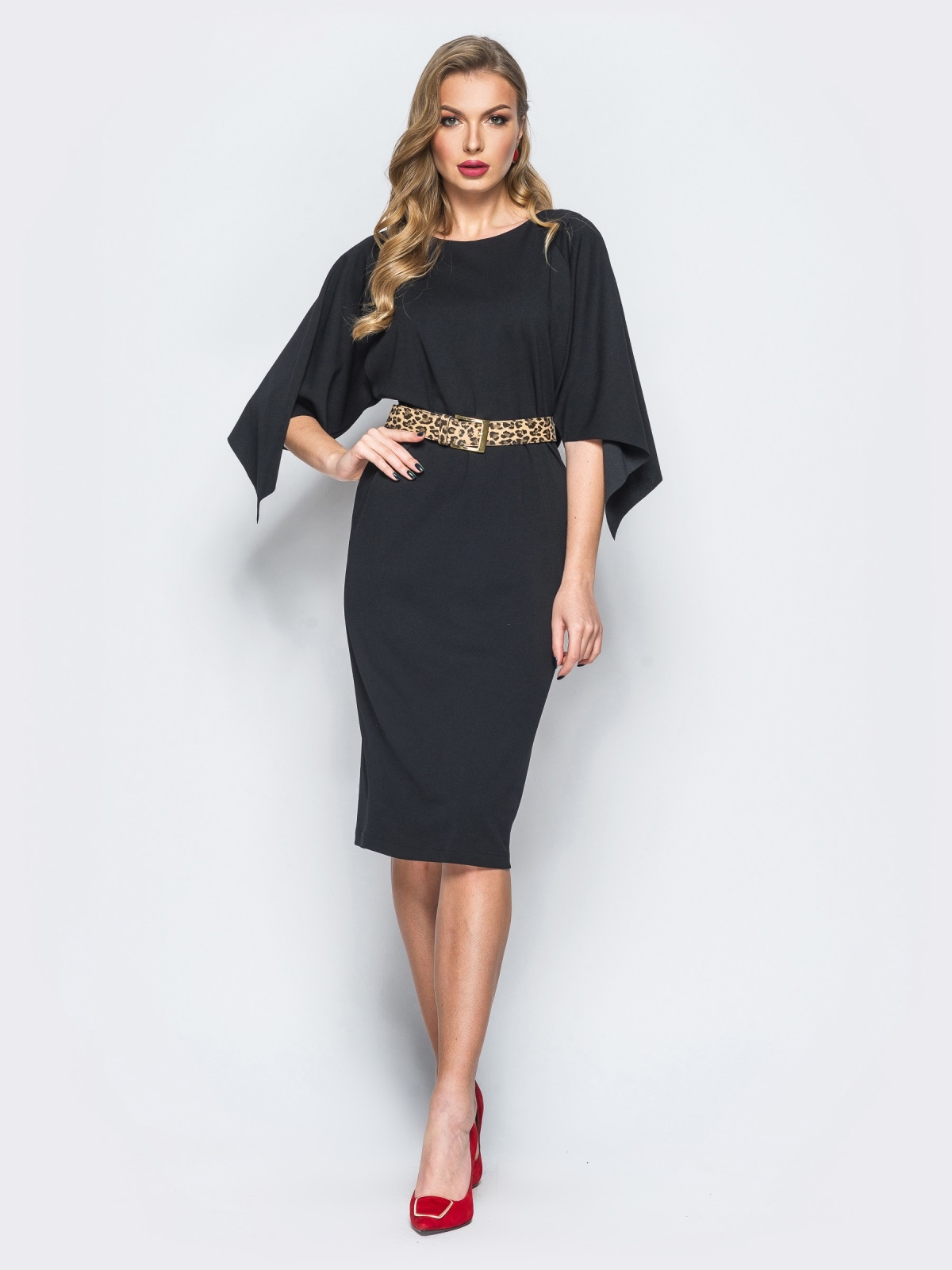 Платье черного цвета с леопардовым поясом в комплекте - 17941, фото 1 – интернет-магазин Dressa