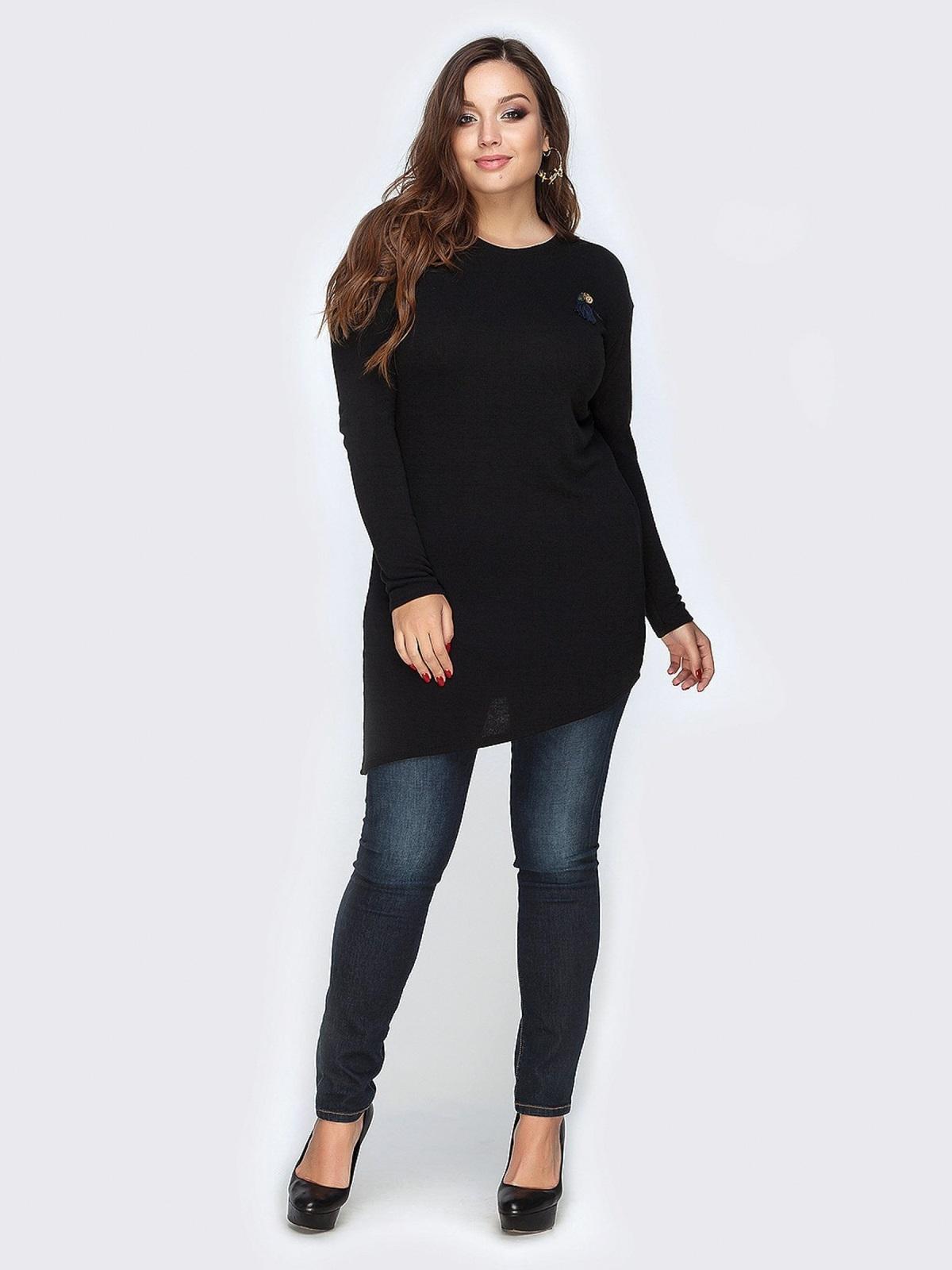Туника черного цвета с ассиметричным низом - 19139, фото 1 – интернет-магазин Dressa