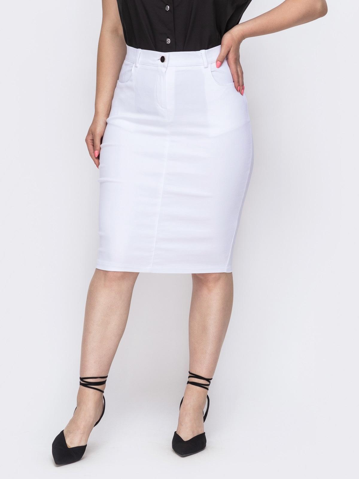 Белая юбка-карандаш большого размера 49839, фото 1