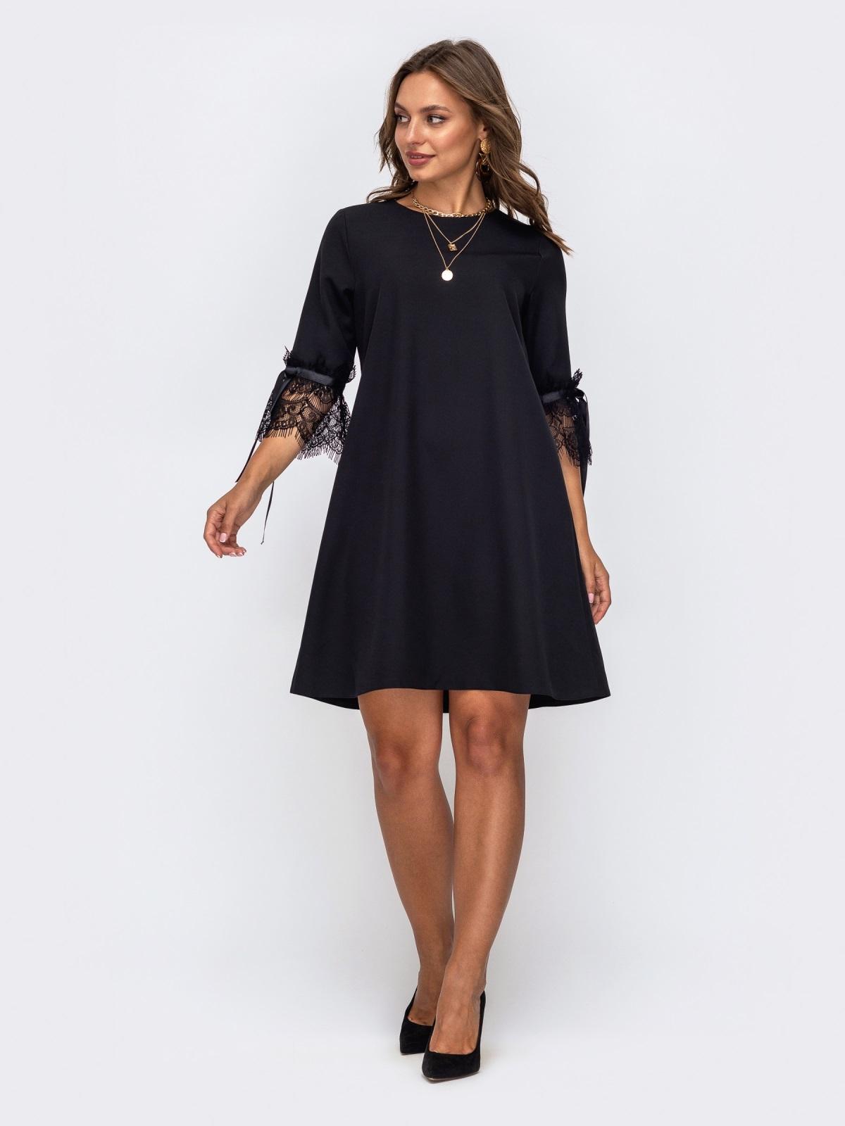 Чёрное платье-трапеция с кружевом на рукавах 50235, фото 1