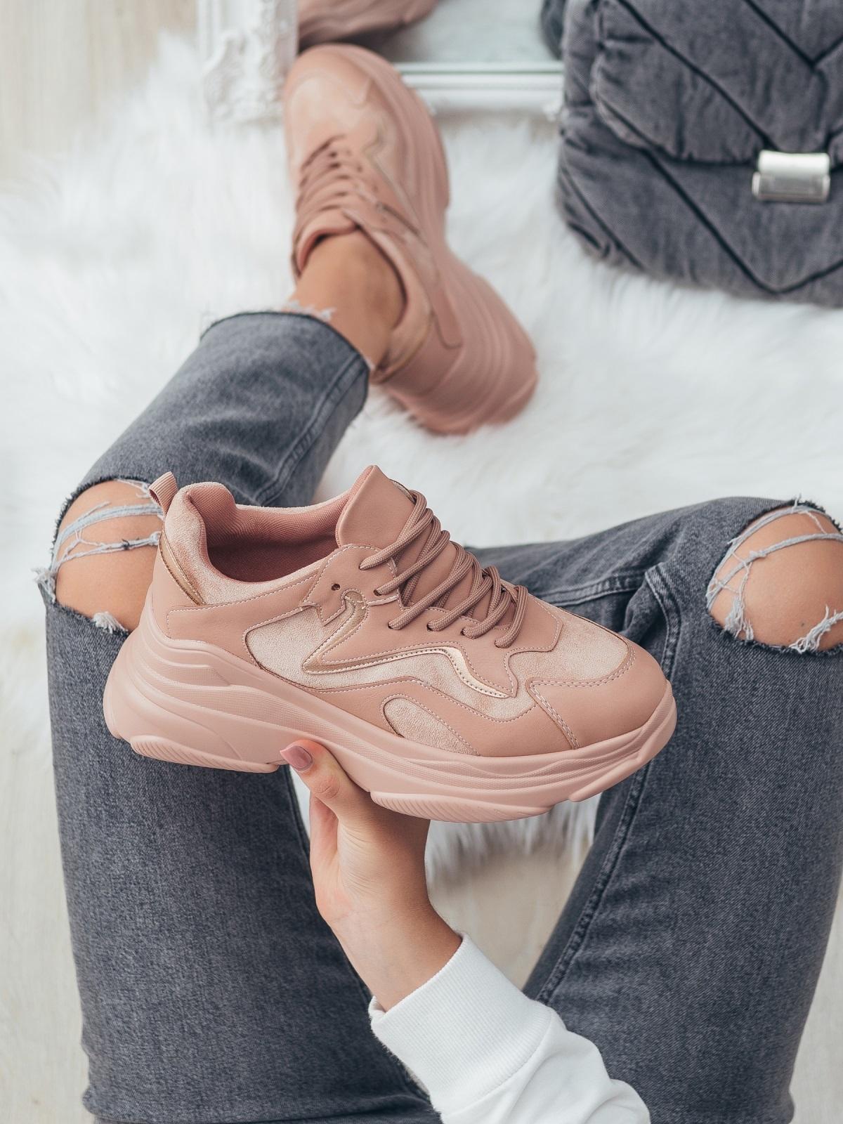 Розовые кроссовки на массивной подошве 51256, фото 1