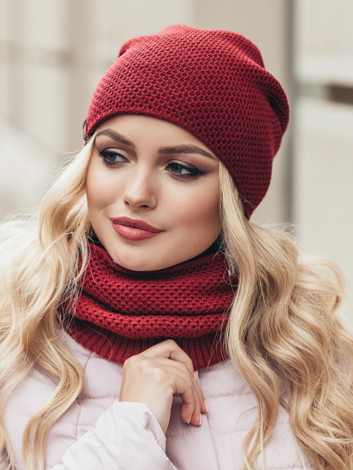 Бордовый одинарный комплект из шапки и хомута - 15532, фото 2 – интернет-магазин Dressa