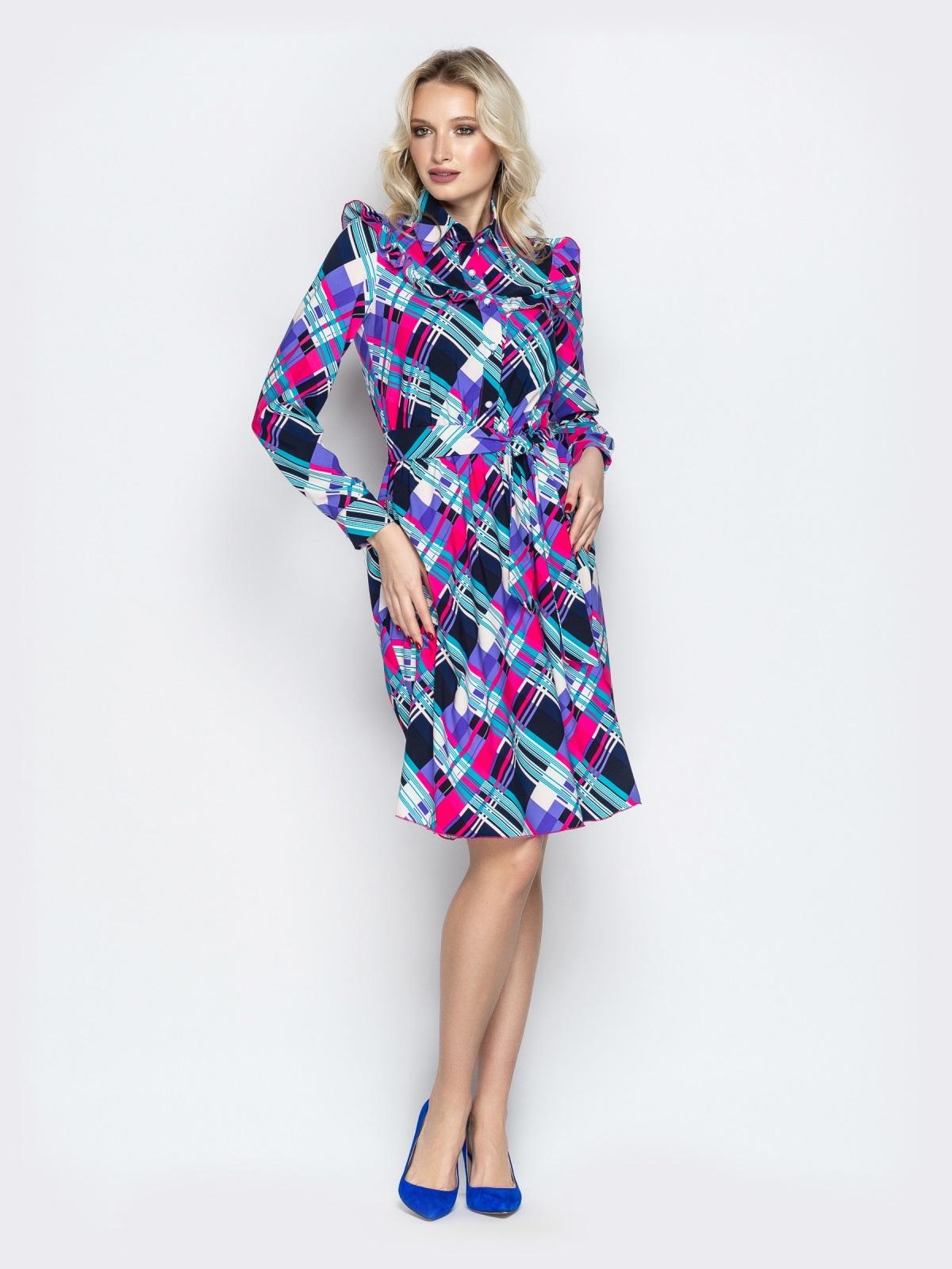 Принтованное платье-рубашка с рюшами на кокетке фиолетовое - 21337, фото 1 – интернет-магазин Dressa