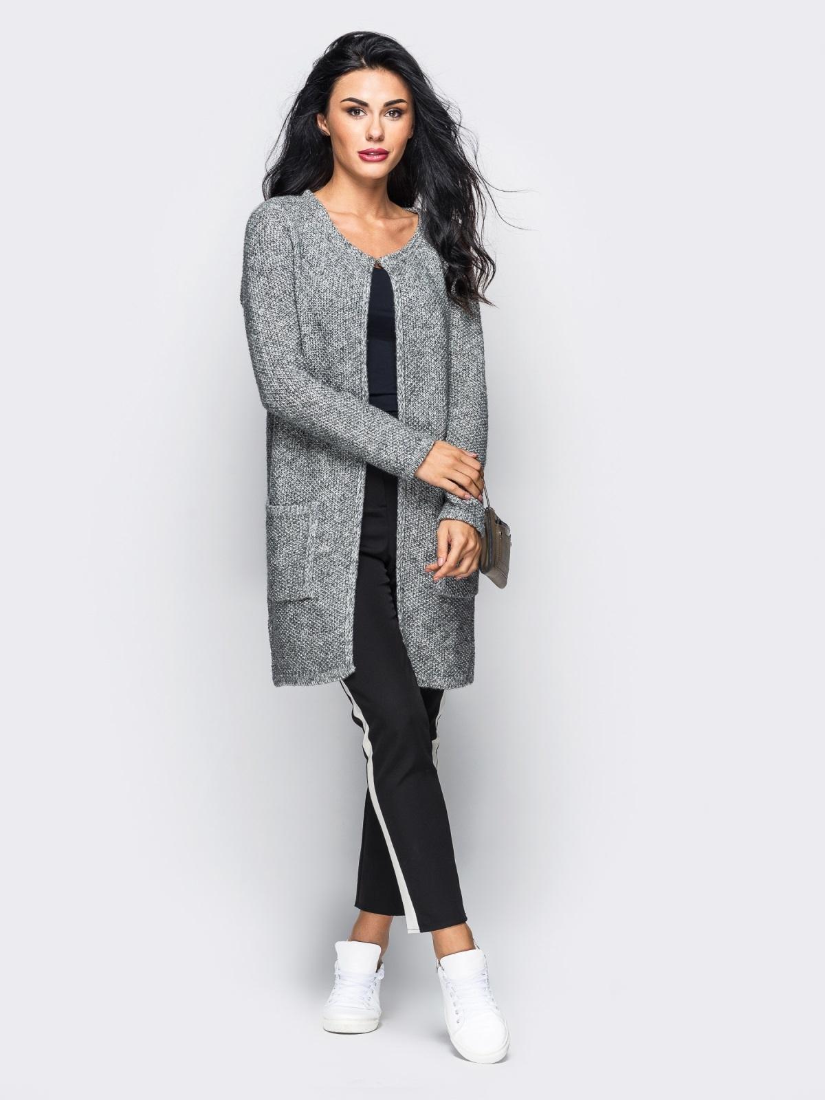 Серый вязаный кардиган с накладными карманами - 10380, фото 1 – интернет-магазин Dressa