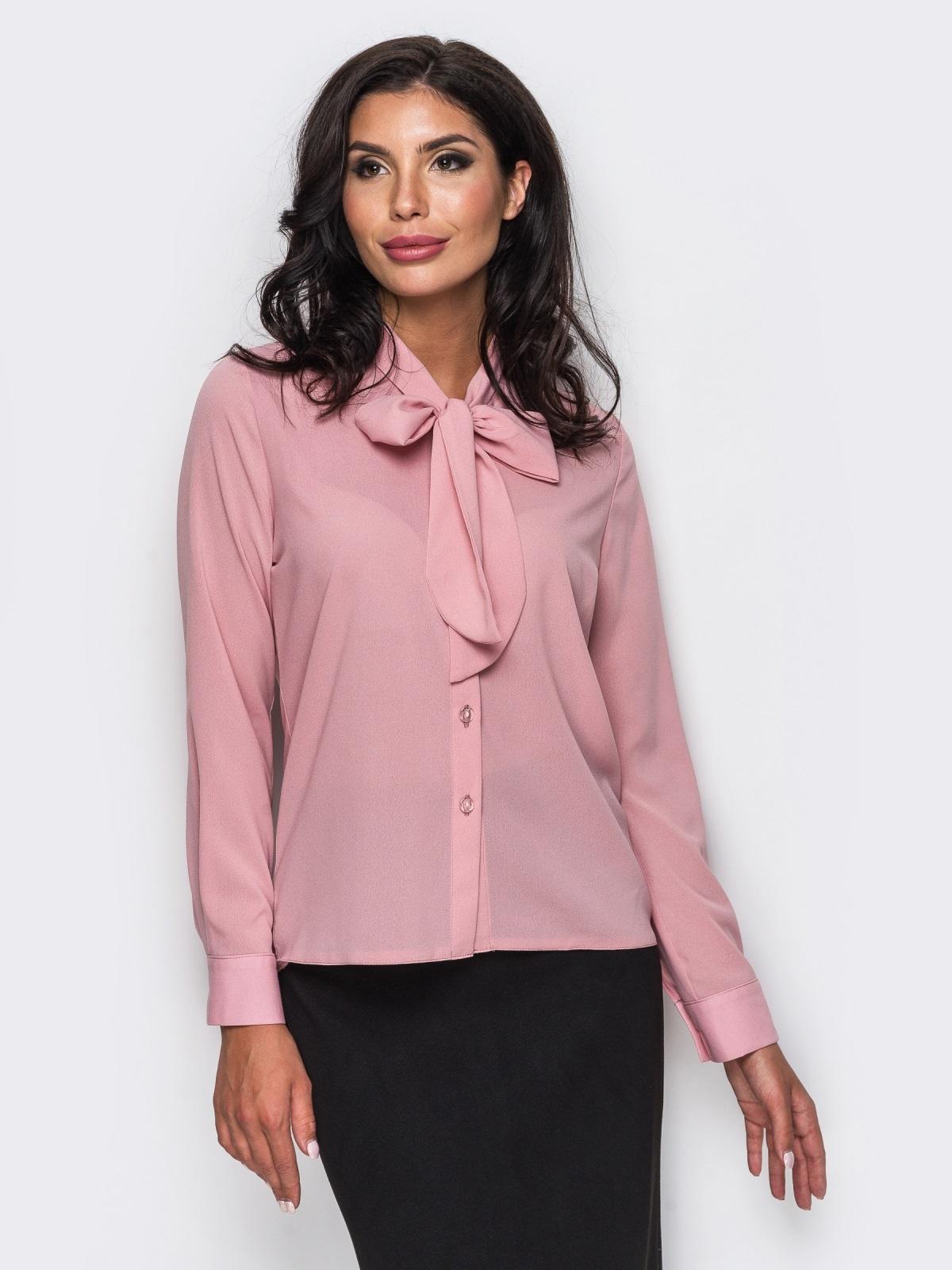 Блузка с воротником, переходящим в бант розовая - 12214, фото 1 – интернет-магазин Dressa
