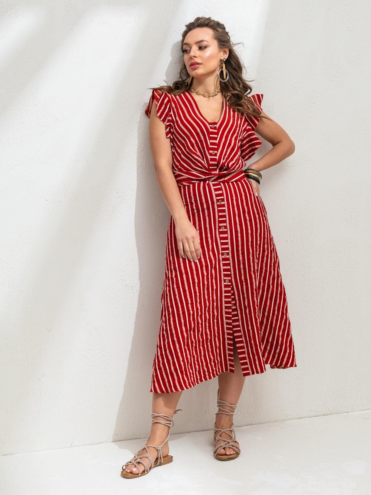 """Красное платье в полоску с рукавом """"крылышко"""" 46818, фото 1"""