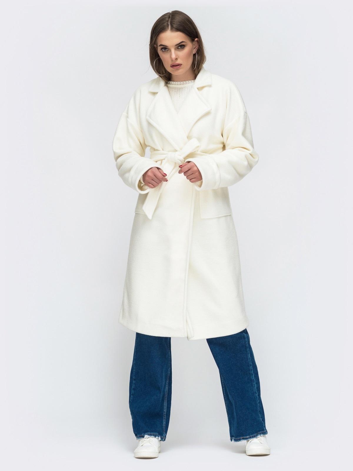 Молочное пальто на запах с накладными карманами - 45214, фото 1 – интернет-магазин Dressa