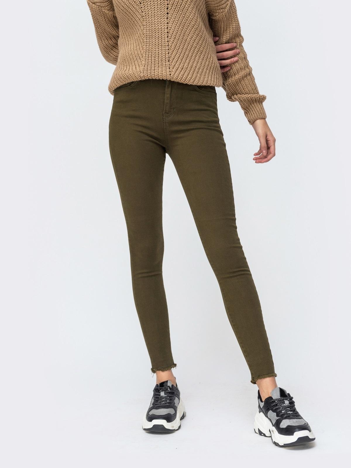 Джинсы-скинни цвета хаки с завышенной талией - 43100, фото 1 – интернет-магазин Dressa