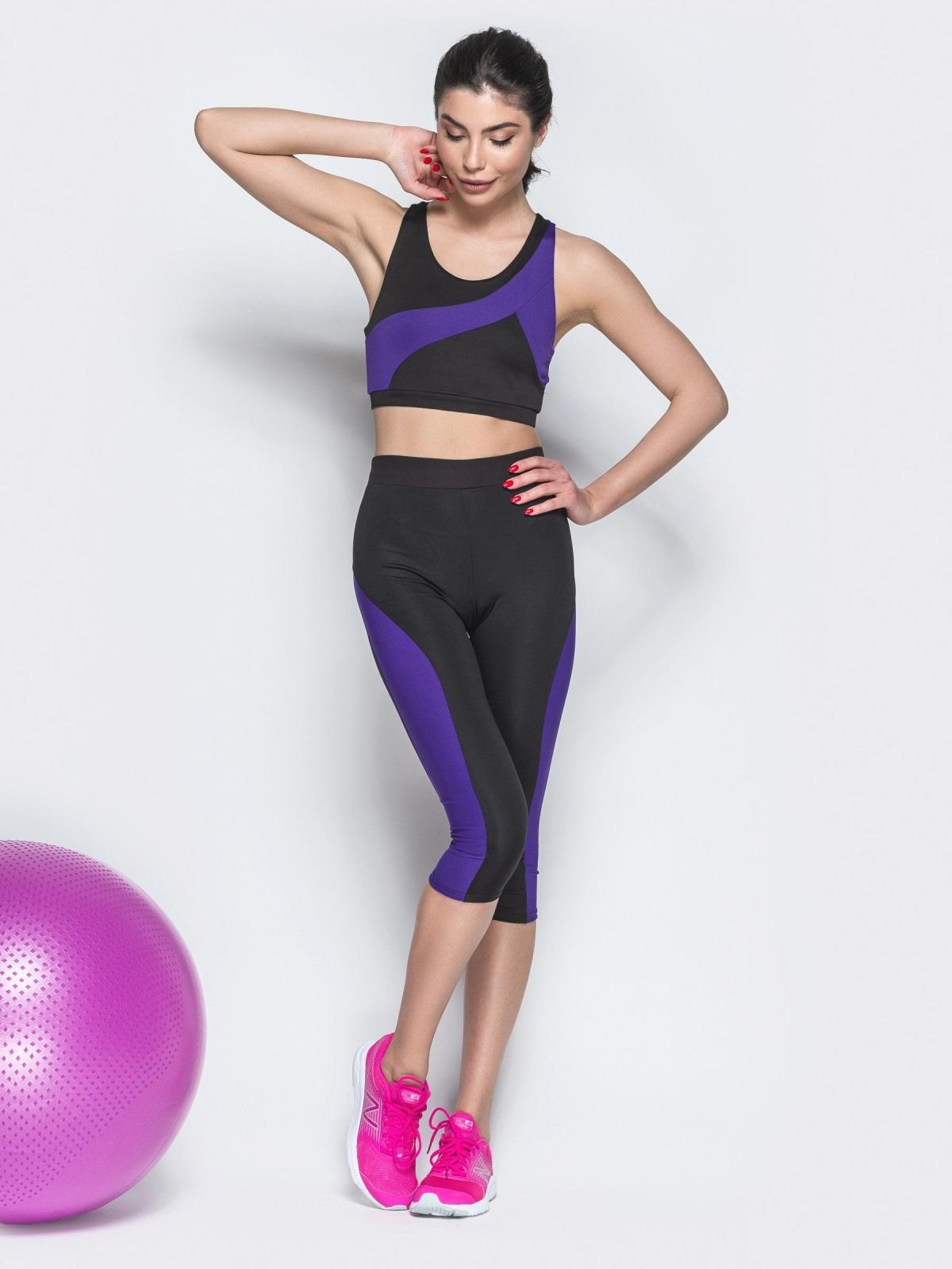 Комплект для фитнеса из топа и бридж с фиолетовыми вставками - 38781, фото 1 – интернет-магазин Dressa