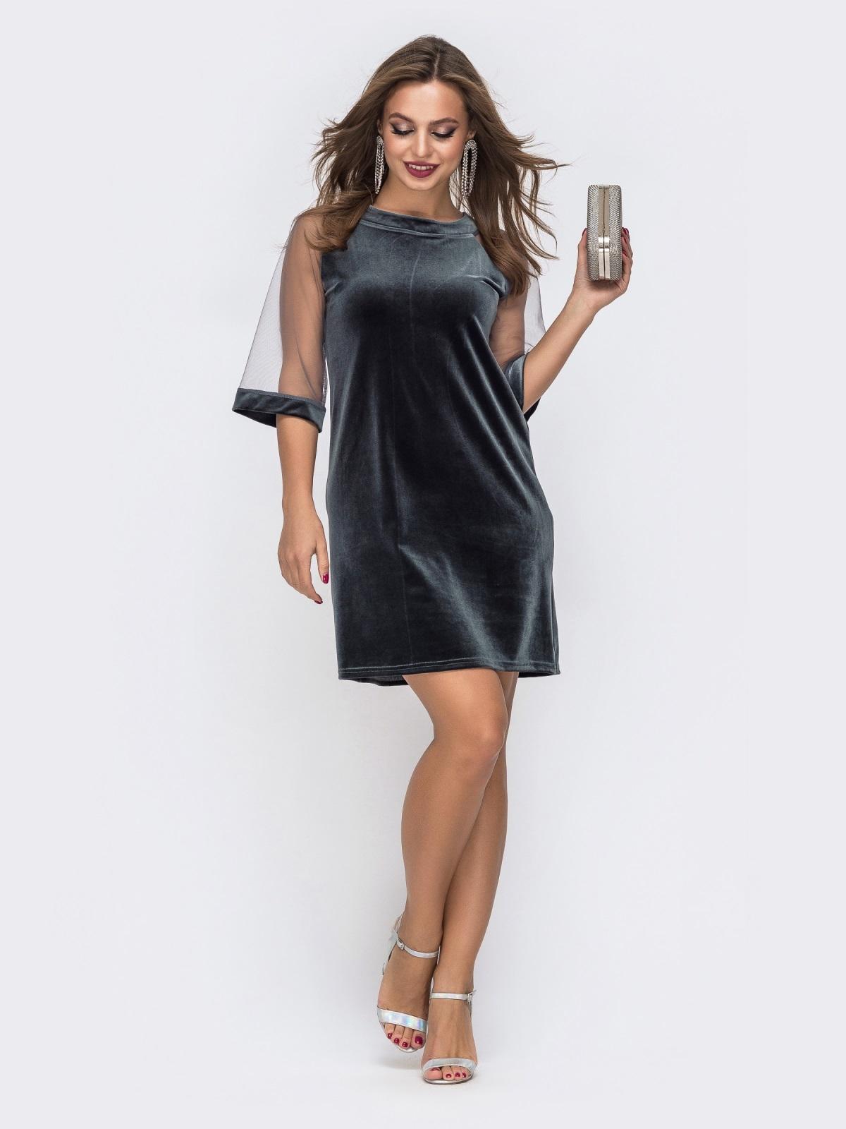 Серое платье из бархата с рукавами из сетки - 42629, фото 1 – интернет-магазин Dressa