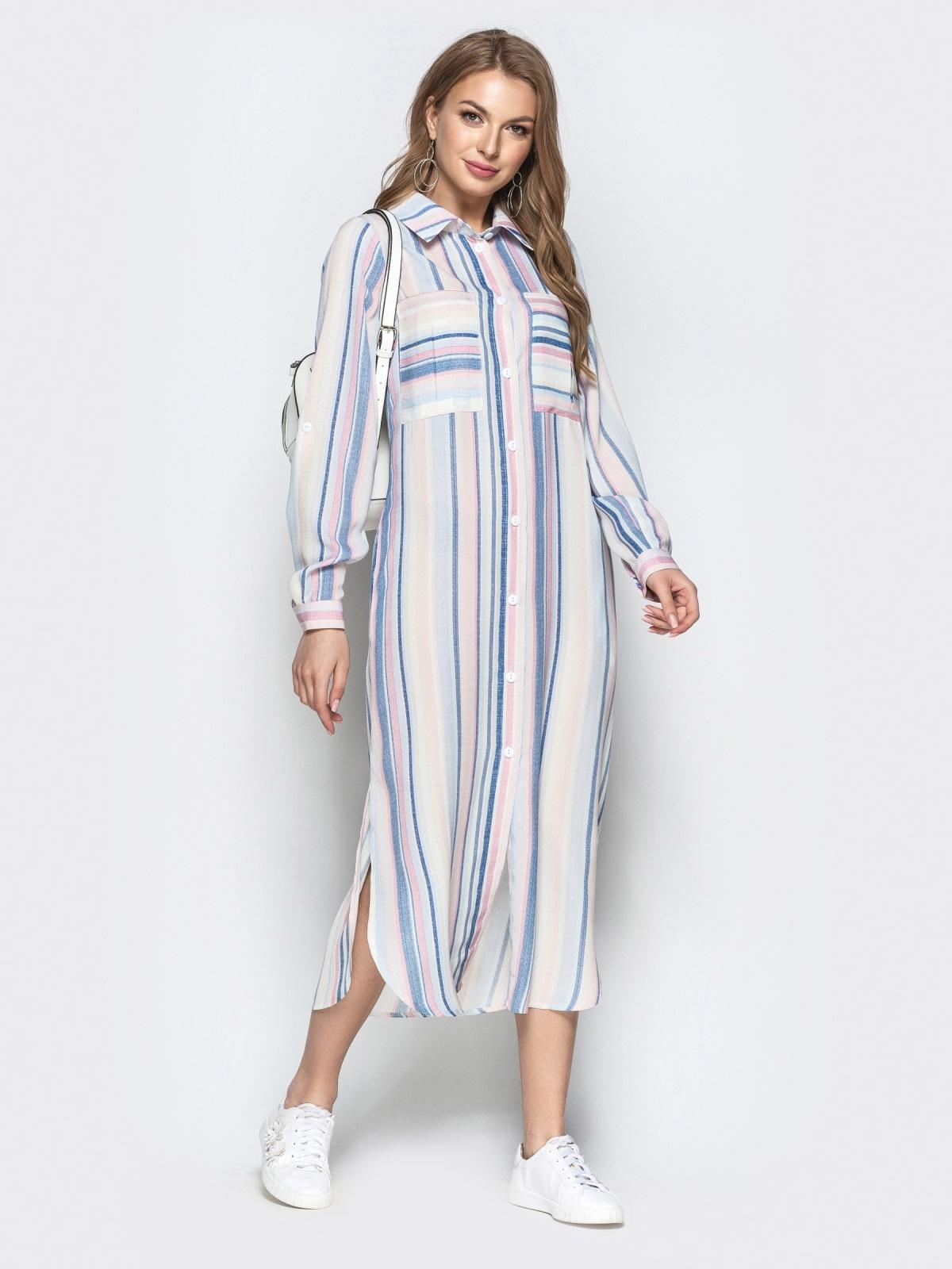 3071de4a3529347 Длинное платье-рубашка из льна в полоску белое - 21526, фото 1 – интернет