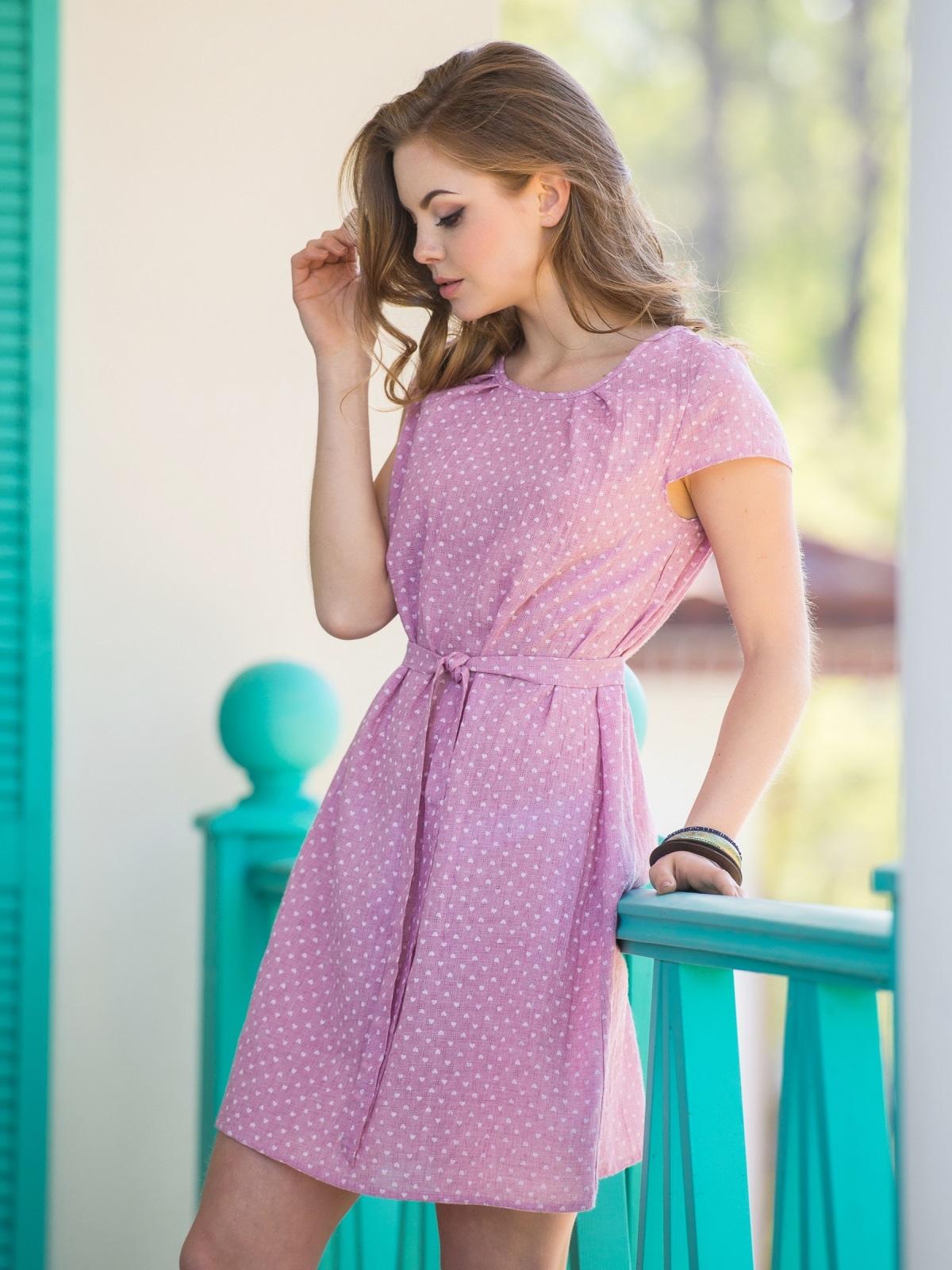 Принтованное платье из хлопка розовое - 12595, фото 1 – интернет-магазин Dressa