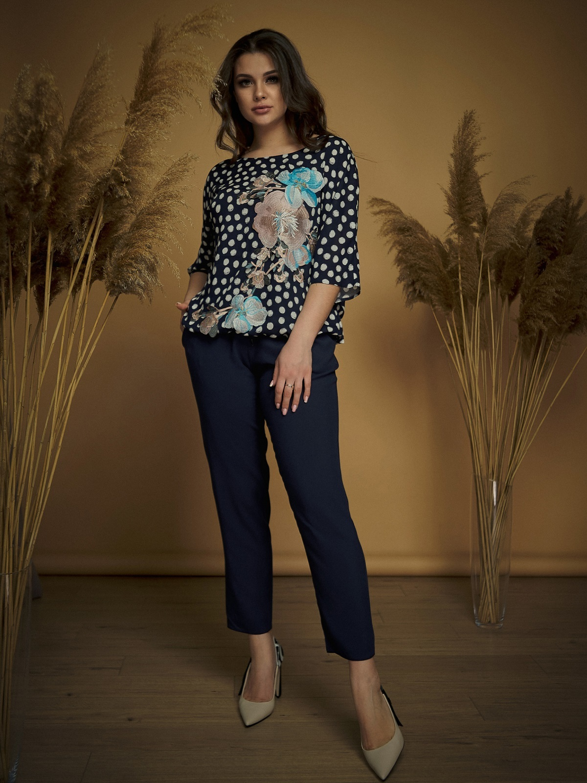 Брючный комплект большого размера с блузкой тёмно-синий - 47159, фото 1 – интернет-магазин Dressa
