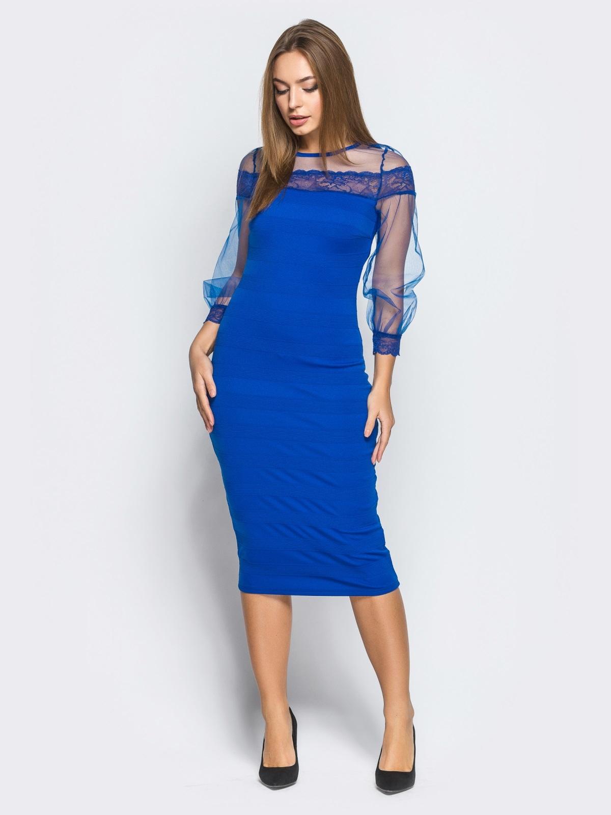 Платье из дайвинга с фатиновой кокеткой и рукавами цвета электрик - 18232, фото 1 – интернет-магазин Dressa