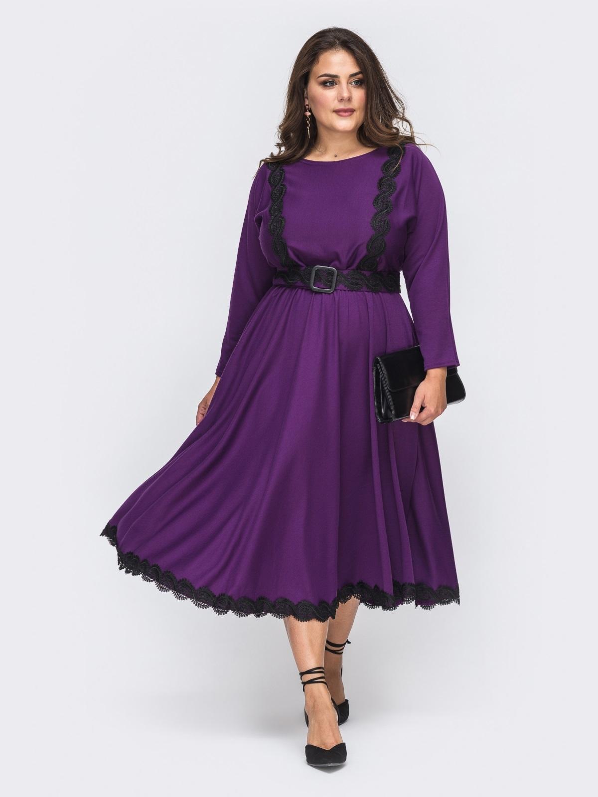Сиреневое платье батал с расклешенной юбкой 51011, фото 1