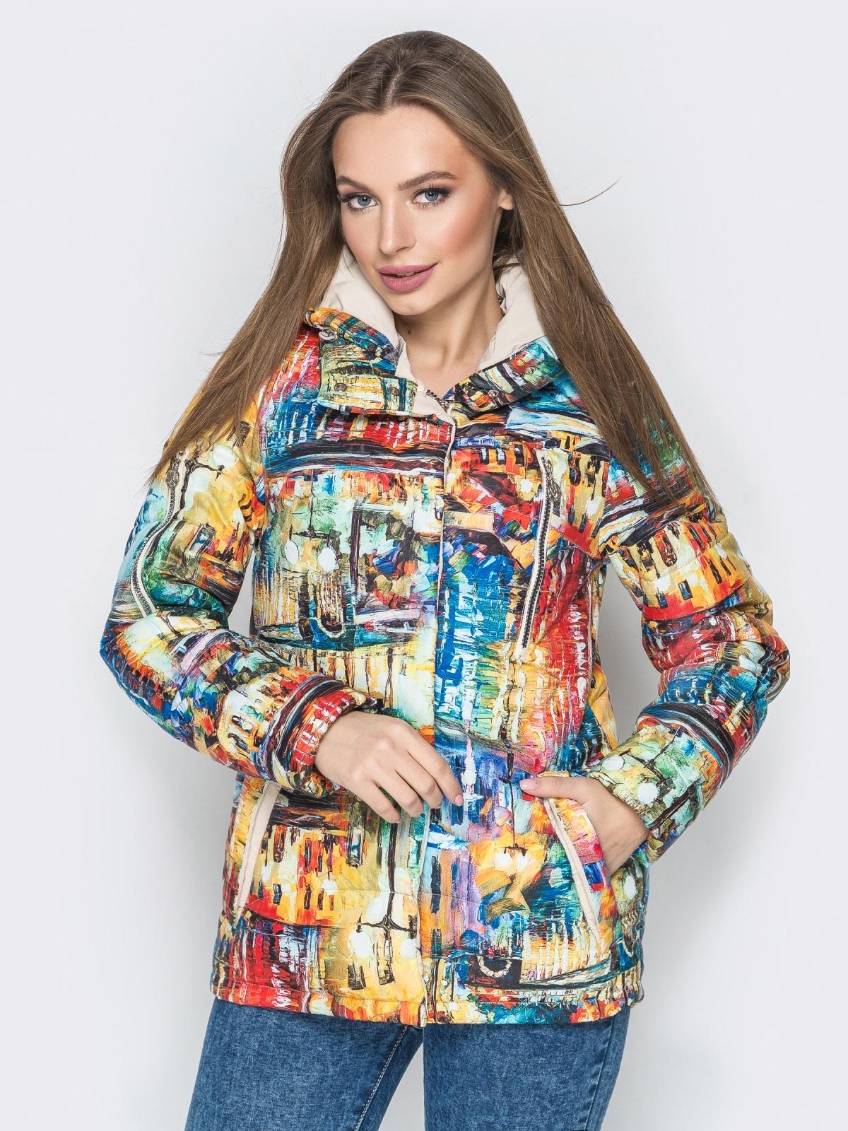 Принтованная куртка с капюшоном и карманами жёлтая - 20263, фото 1 – интернет-магазин Dressa