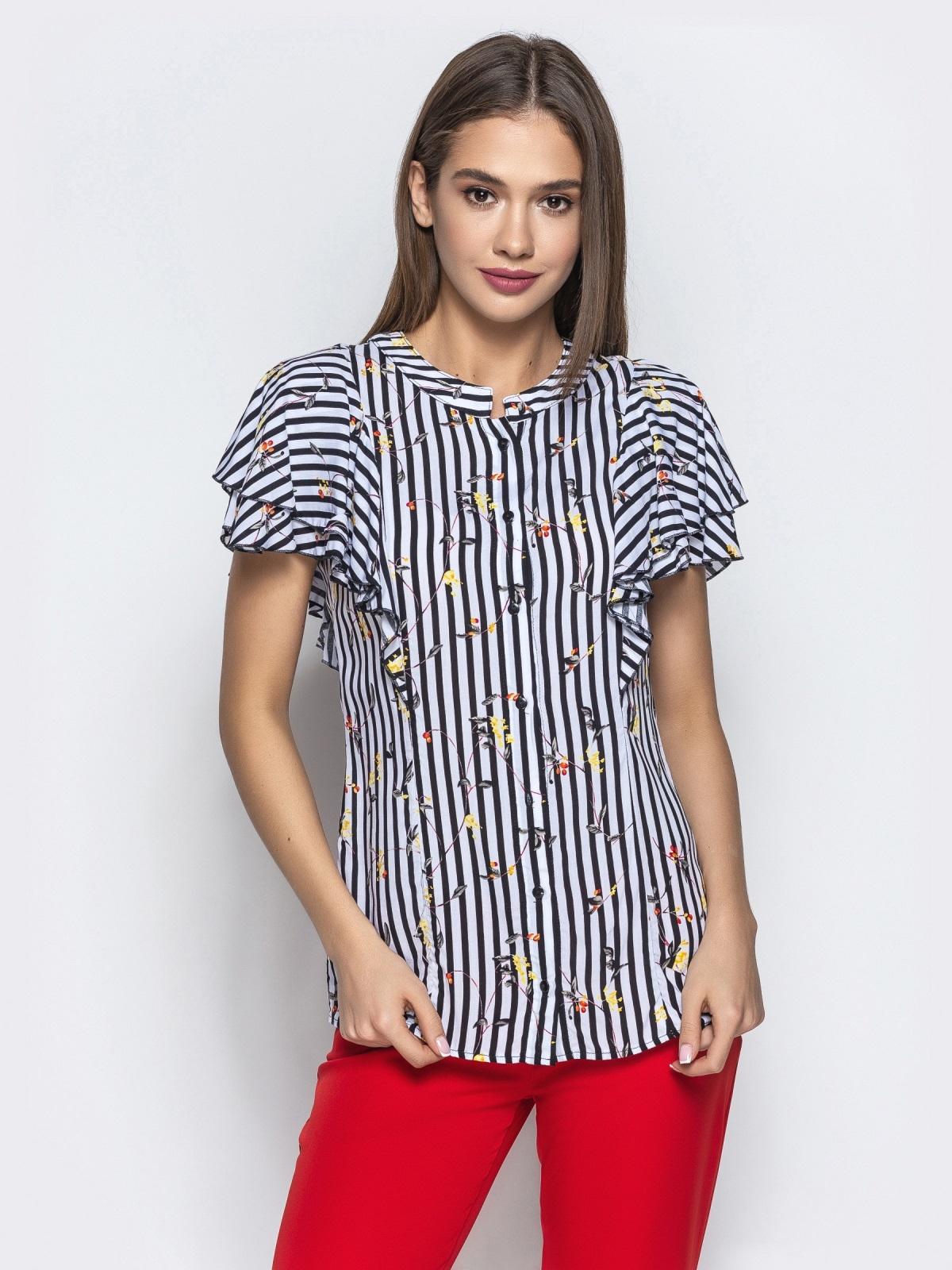 Хлопковая блузка в черную полоску с воланами 21743, фото 1