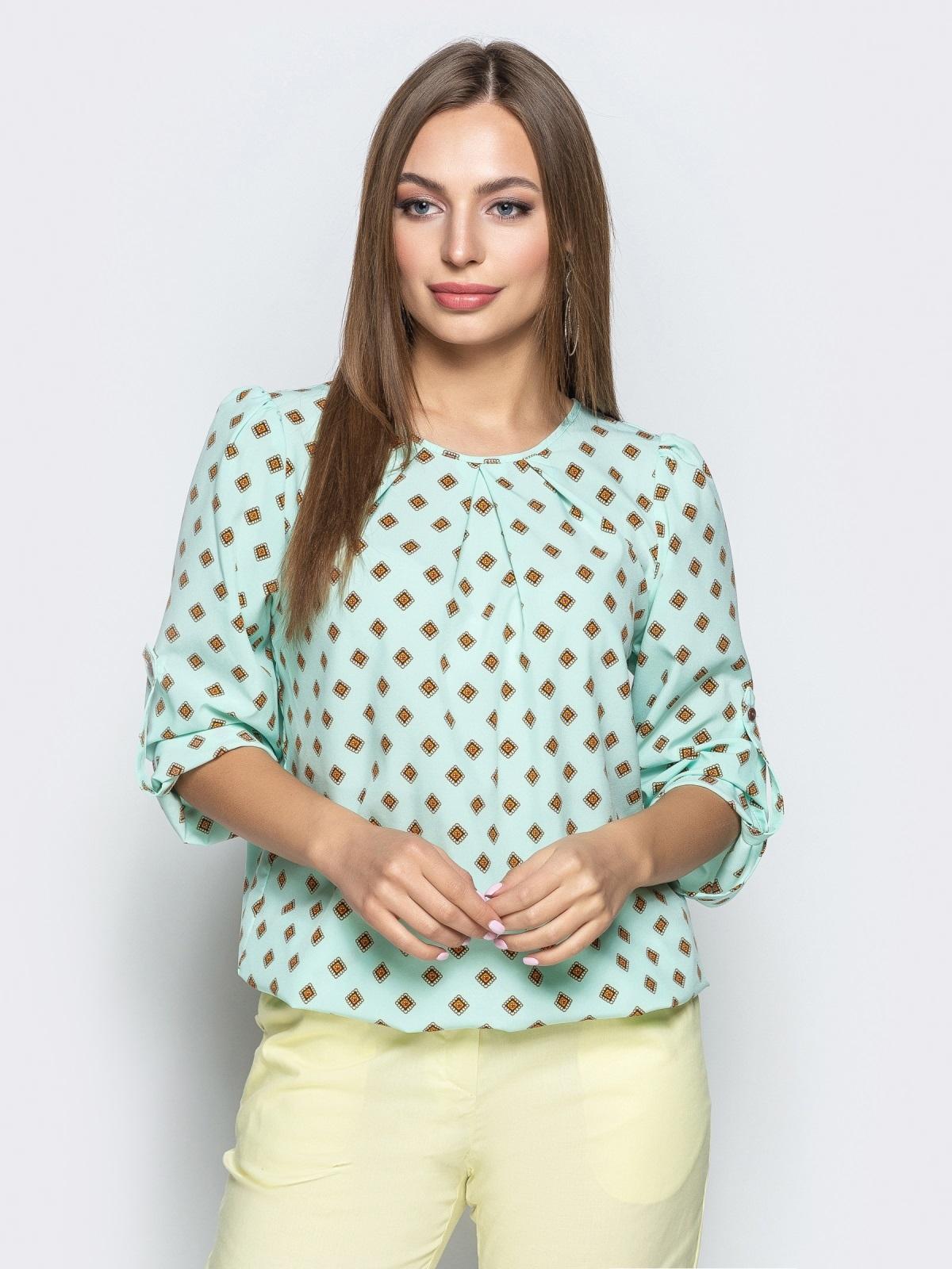 c541405afa0 Принтованная блузка из софта мятного цвета 21741 – купить в Киеве ...