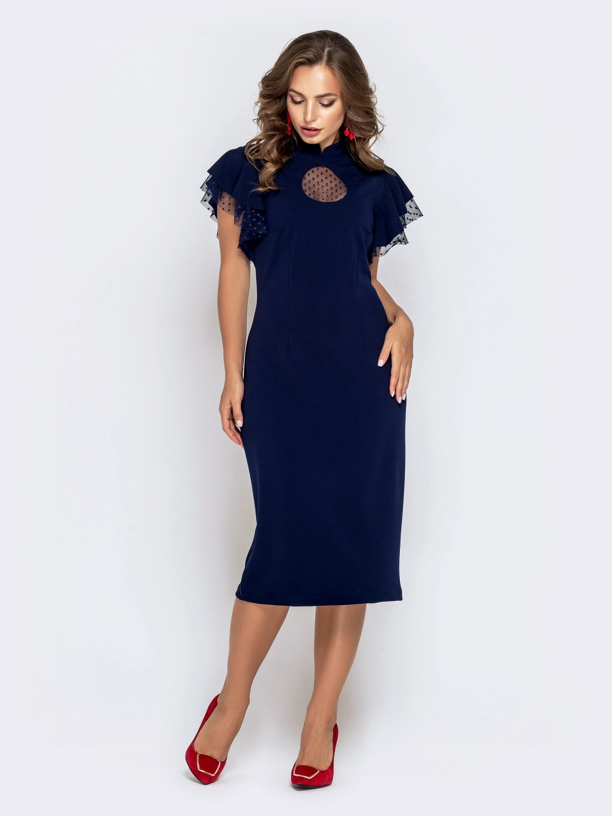 Синее платье-футляр с рюшами из фатина 40895, фото 1