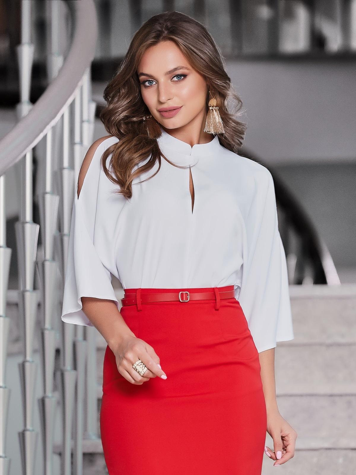 """Белая блузка с рукавом """"летучая мышь"""" - 40078, фото 1 – интернет-магазин Dressa"""