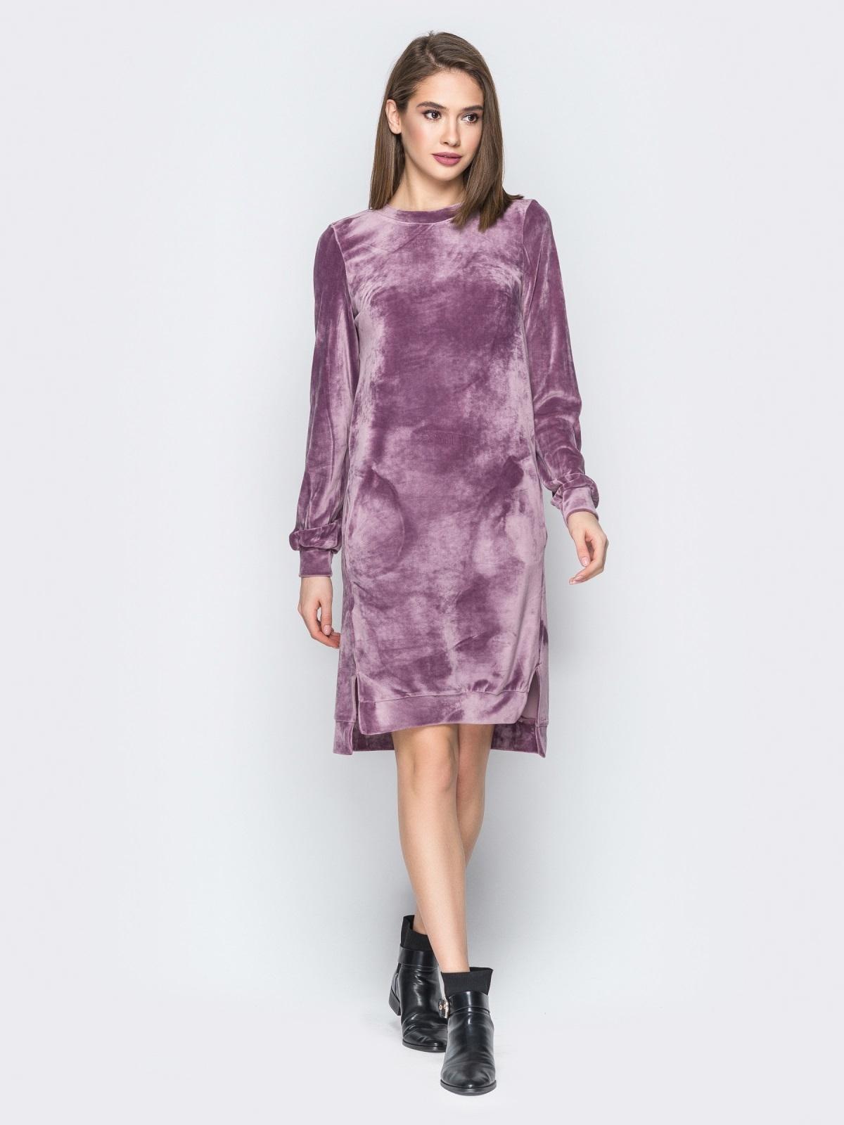 Розовое велюровое платье с карманами - 19510, фото 1 – интернет-магазин Dressa