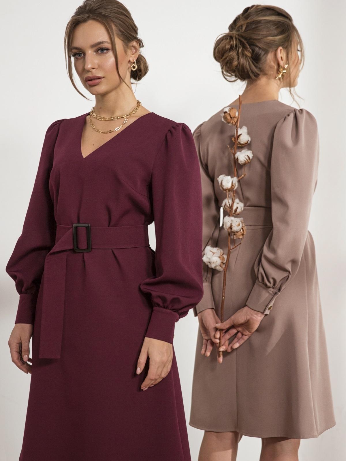 Бордовое платье с расклешенной юбкой - 44205, фото 1 – интернет-магазин Dressa