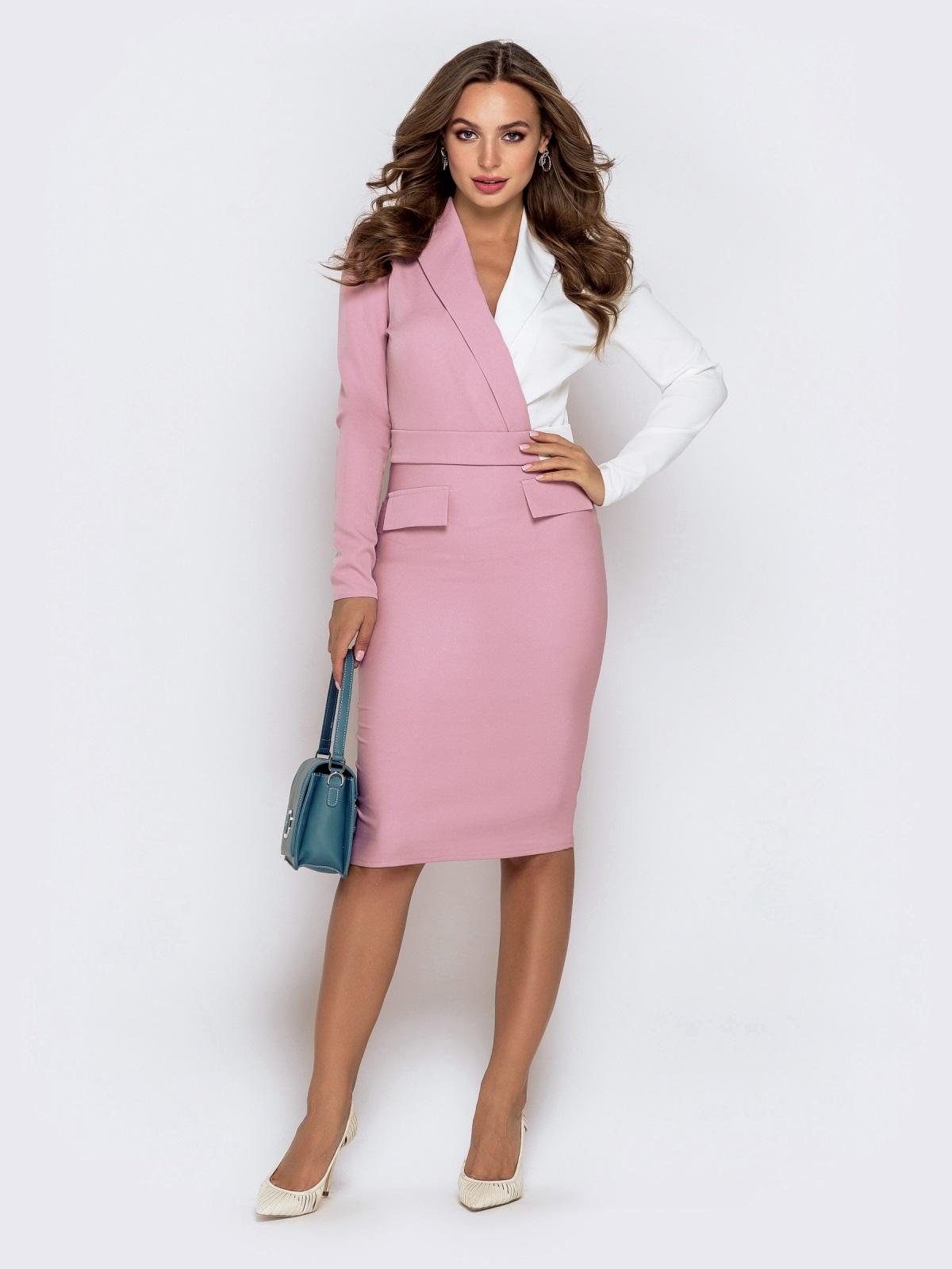 Обтягивающее платье-миди пудрового цвета 40764, фото 1