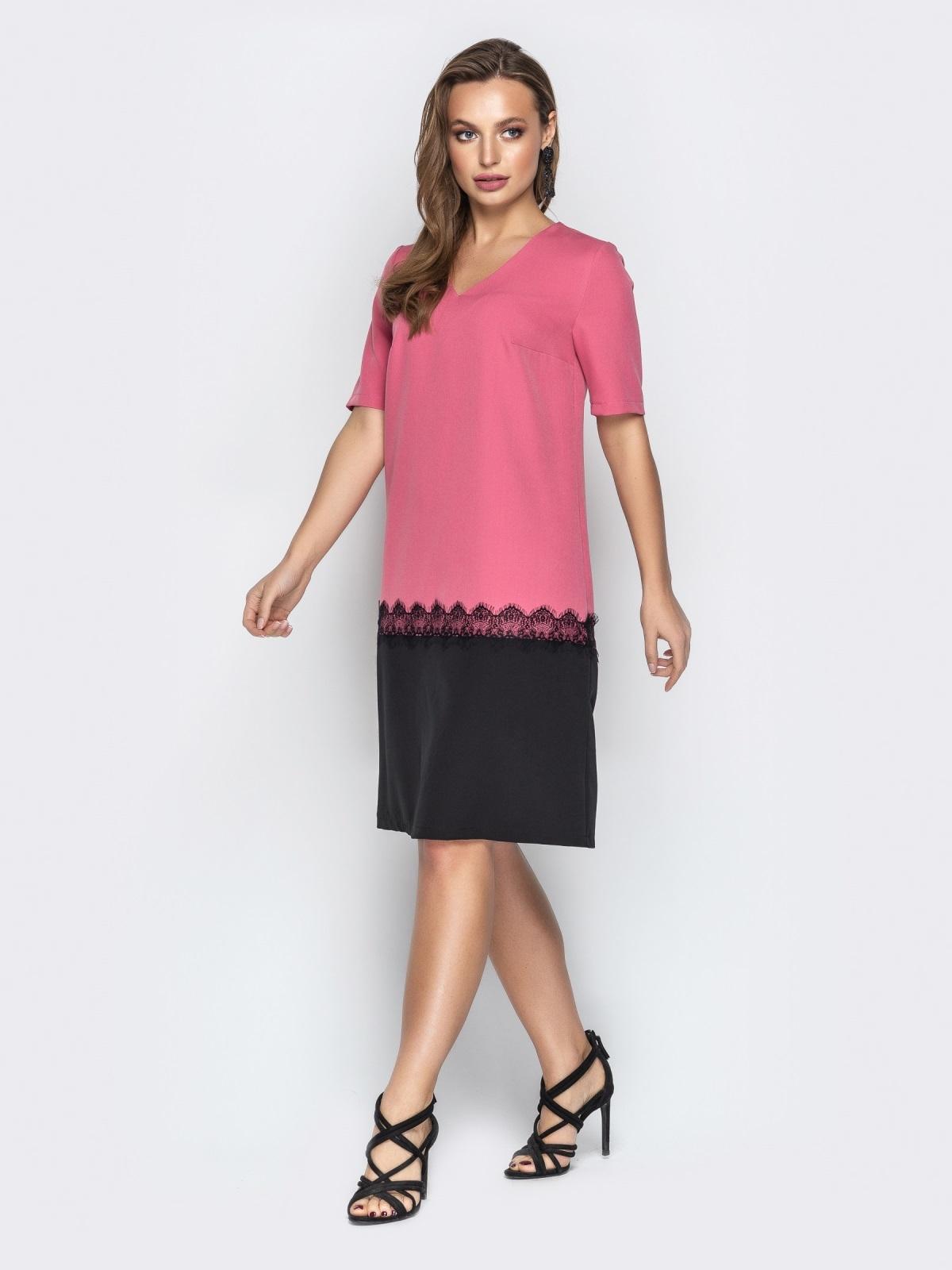 Розовое платье прямого кроя с коротким рукавом - 21033, фото 1 – интернет-магазин Dressa